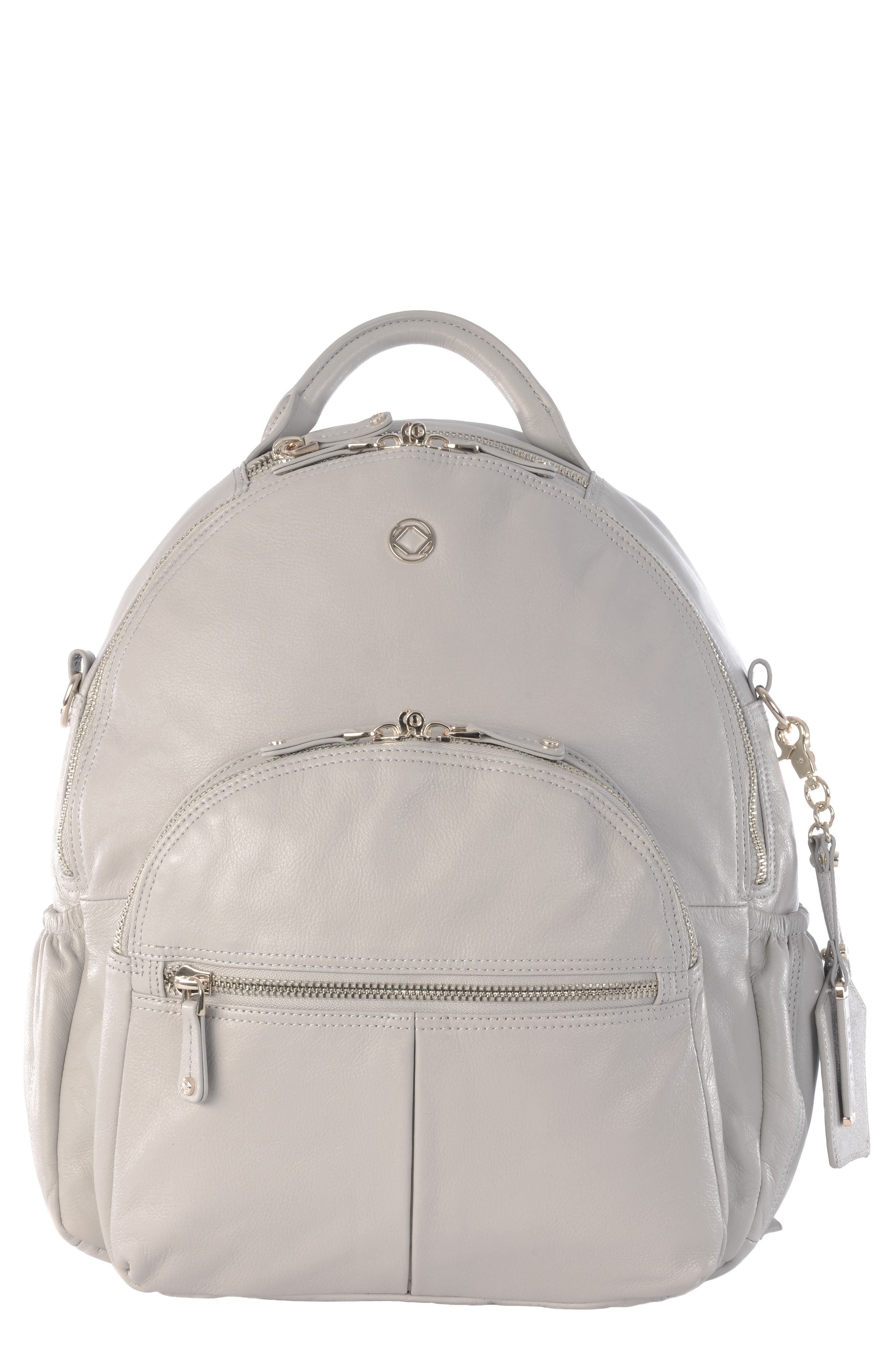 Joy XL Leather Backpack,                         Main,                         color, Ice Grey