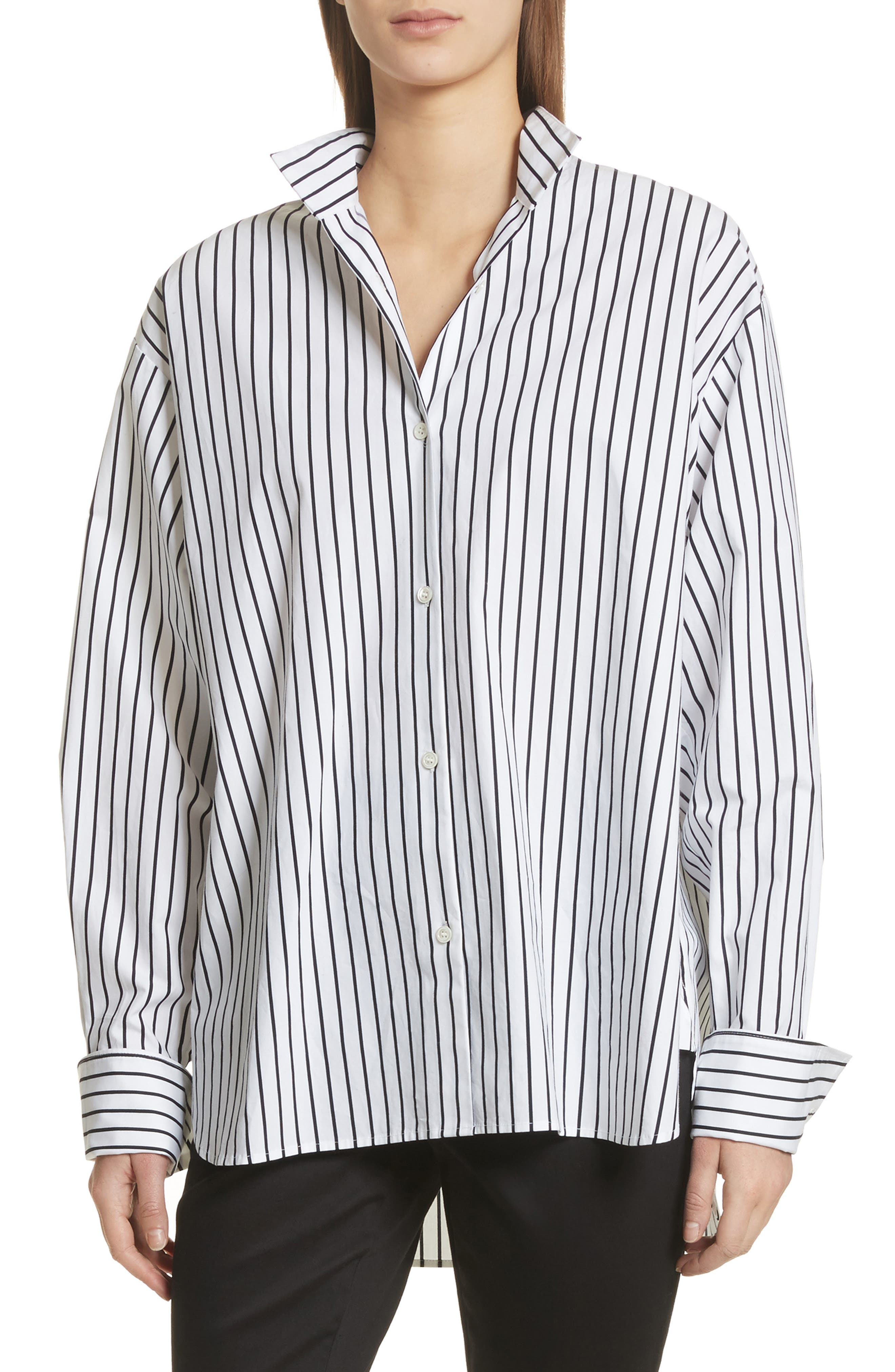 Alternate Image 1 Selected - FRAME Stripe Cotton Blouse