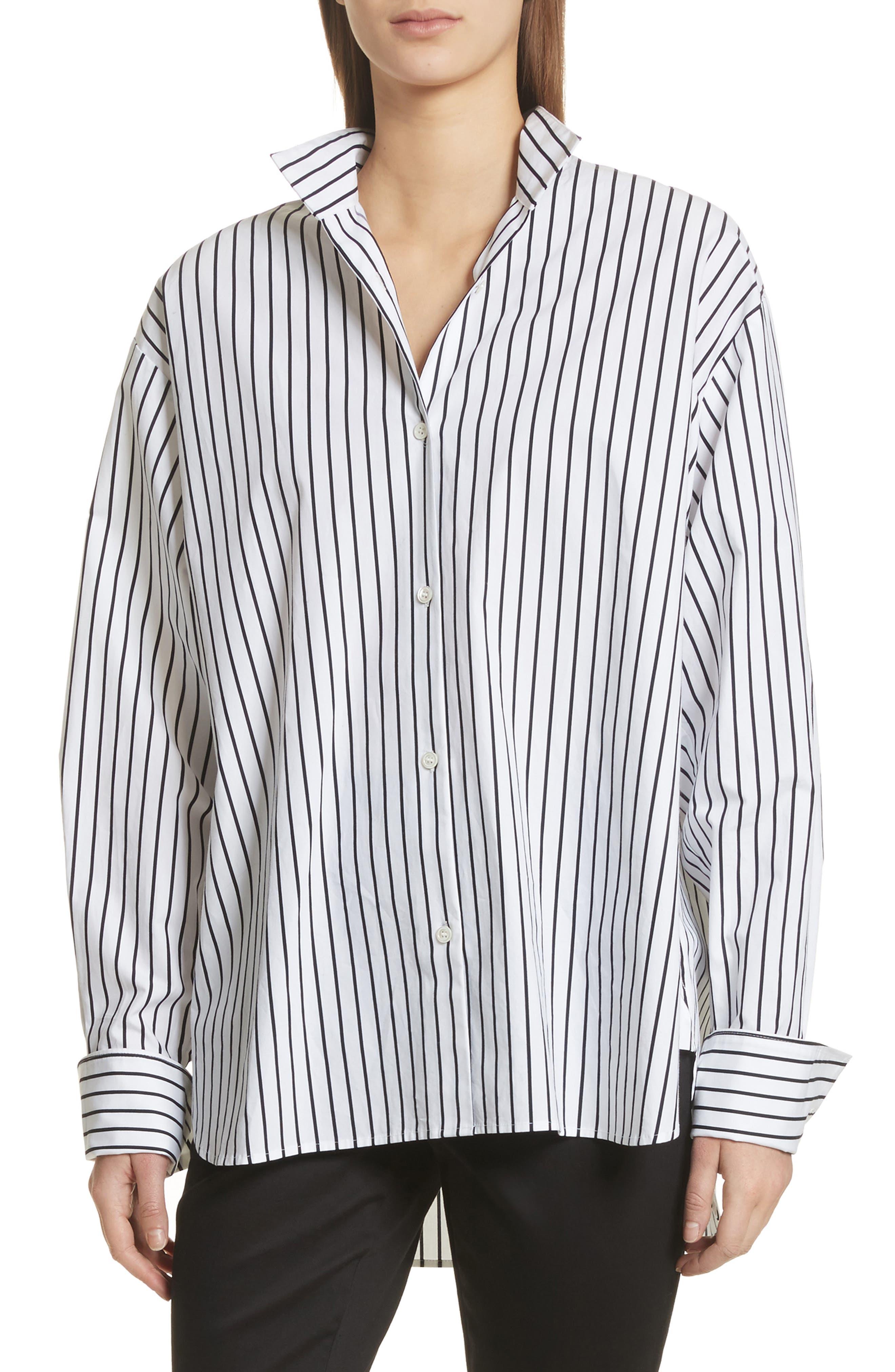 Stripe Cotton Blouse,                         Main,                         color, Navy Multi