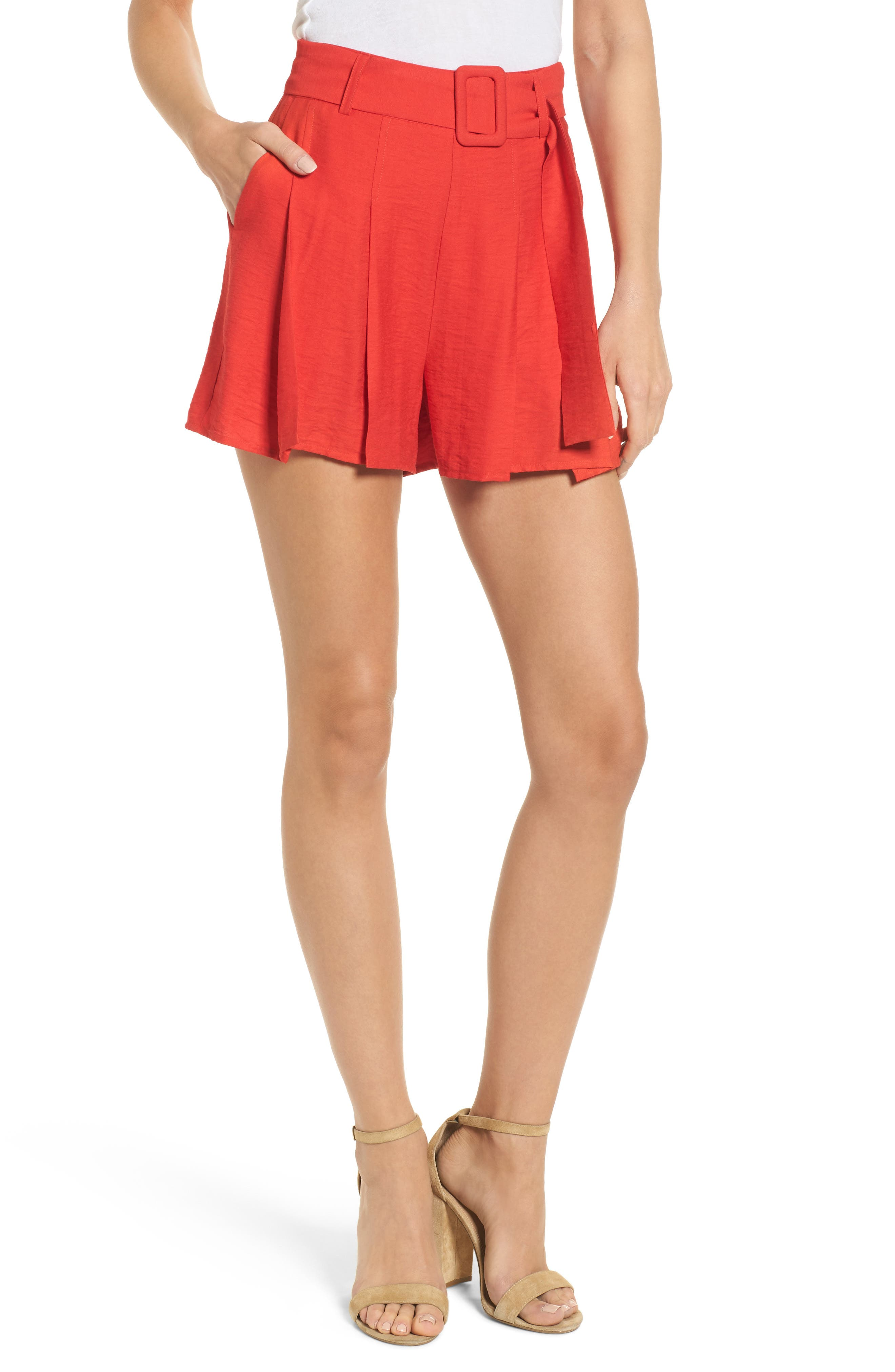 Belted High Waist Shorts,                         Main,                         color, Red