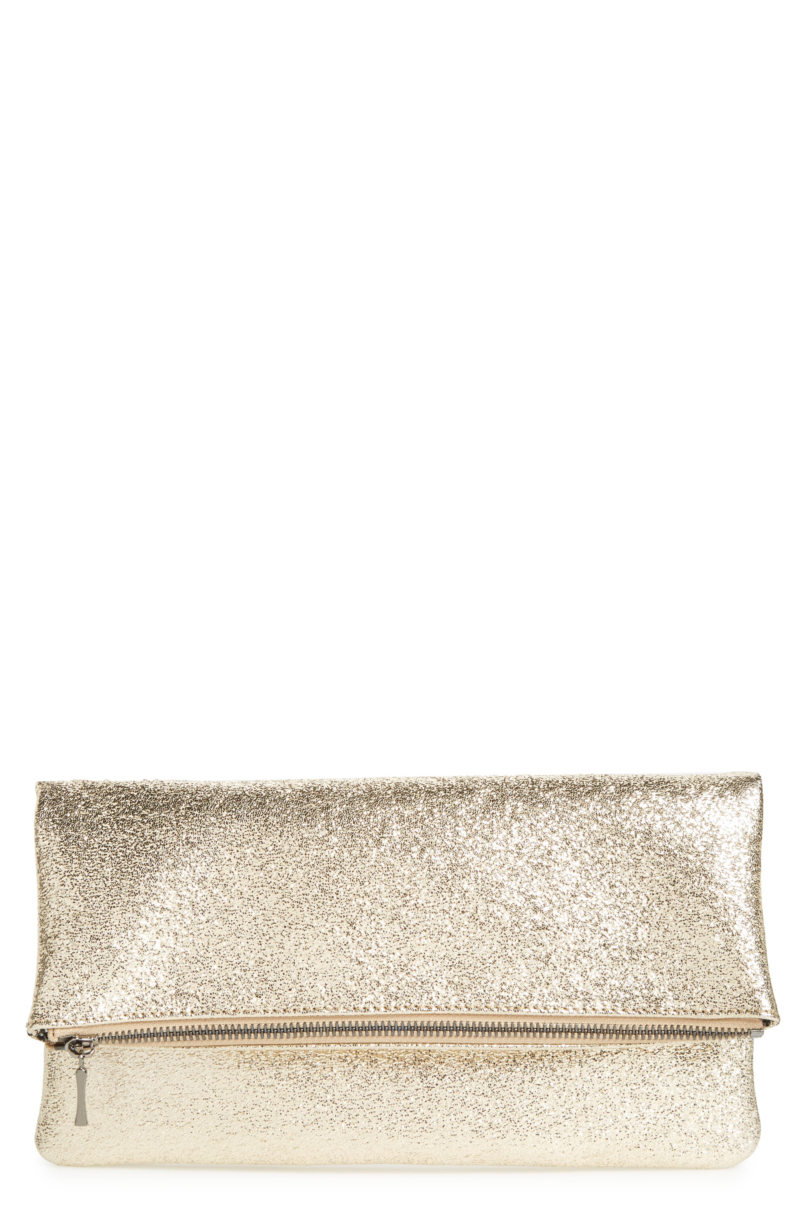 Sole Society Maci Crinkle Faux Leather Foldover Clutch