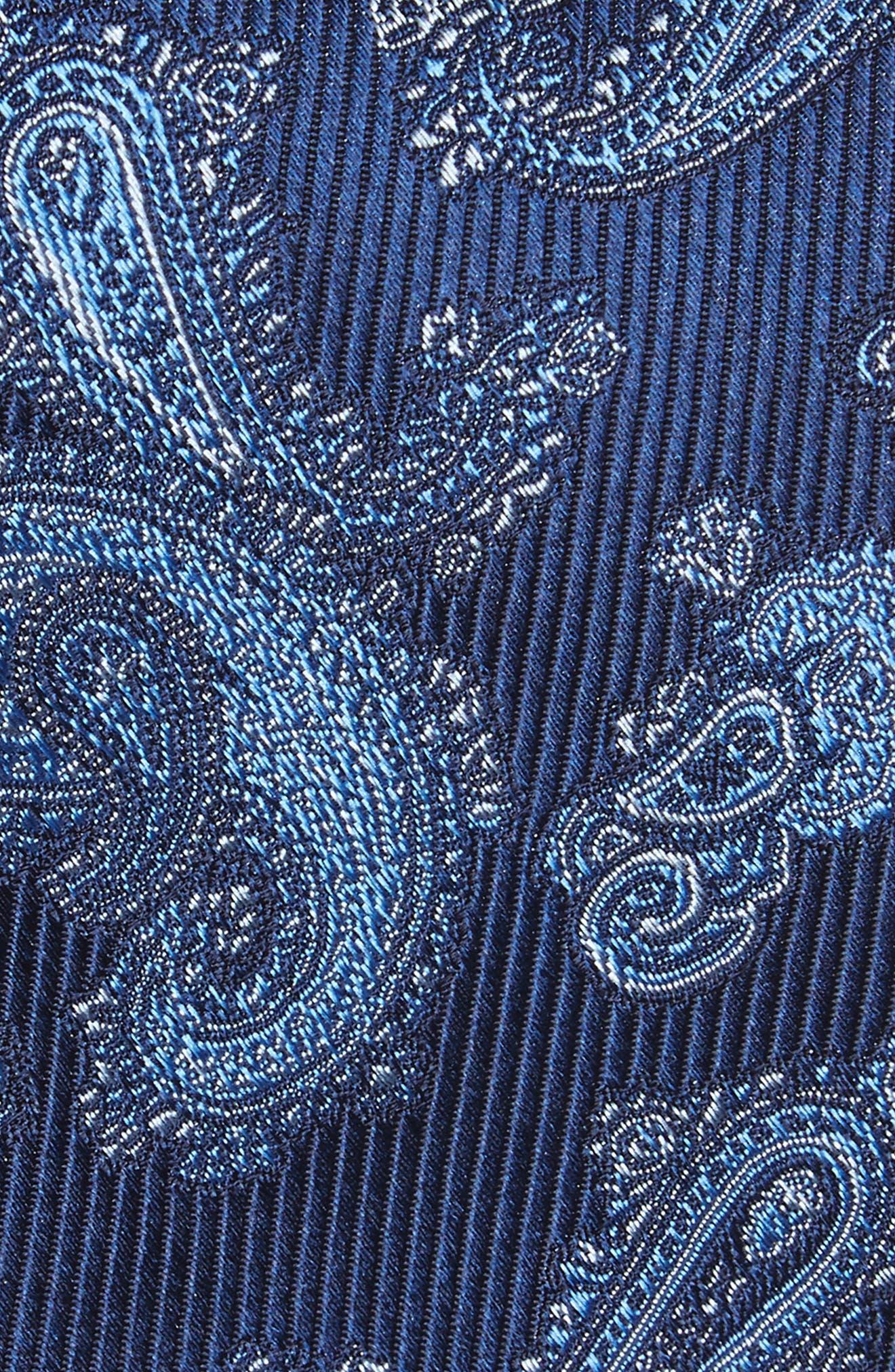 Paisley Silk Tie,                             Alternate thumbnail 2, color,                             Navy
