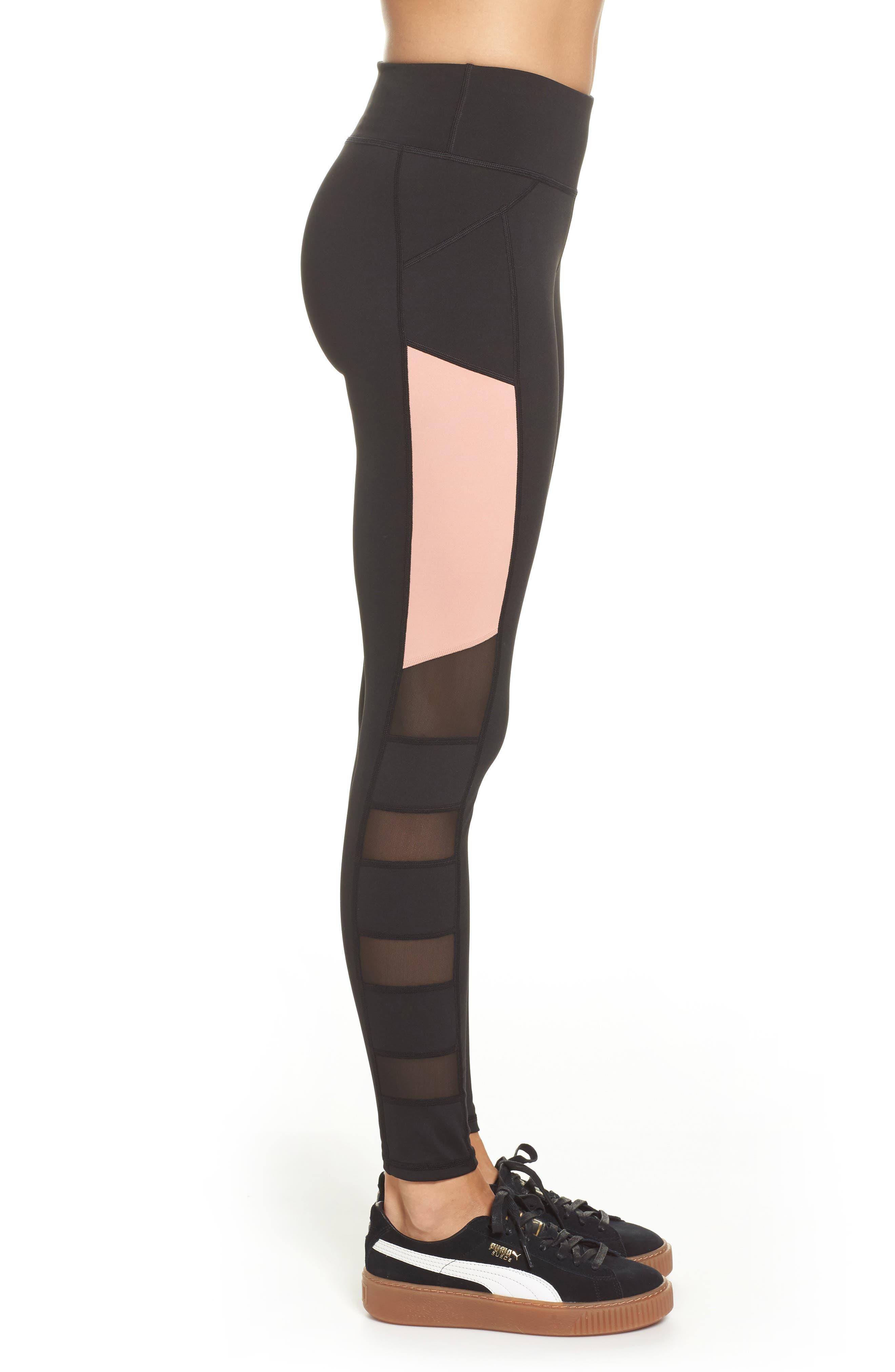 Sharp Shape Tights,                             Alternate thumbnail 4, color,                             Puma Black-Peach Beige