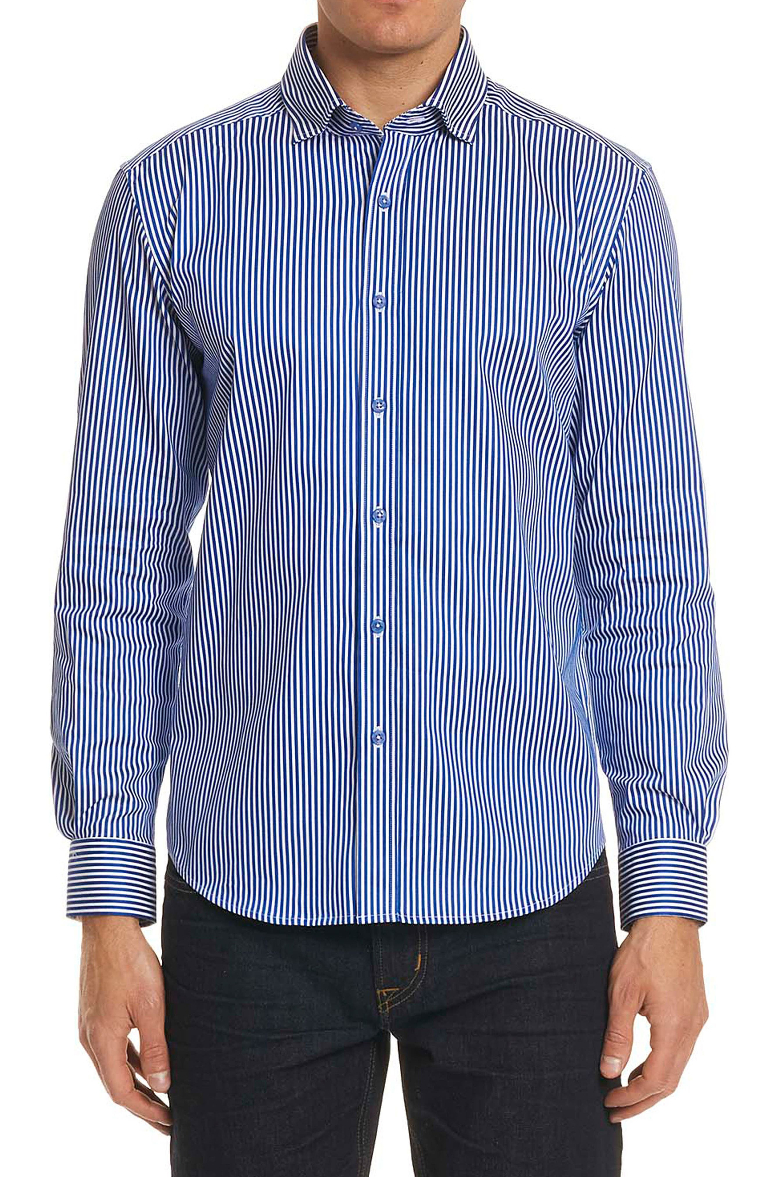 Luther Classic Fit Stripe Sport Shirt,                         Main,                         color, Navy