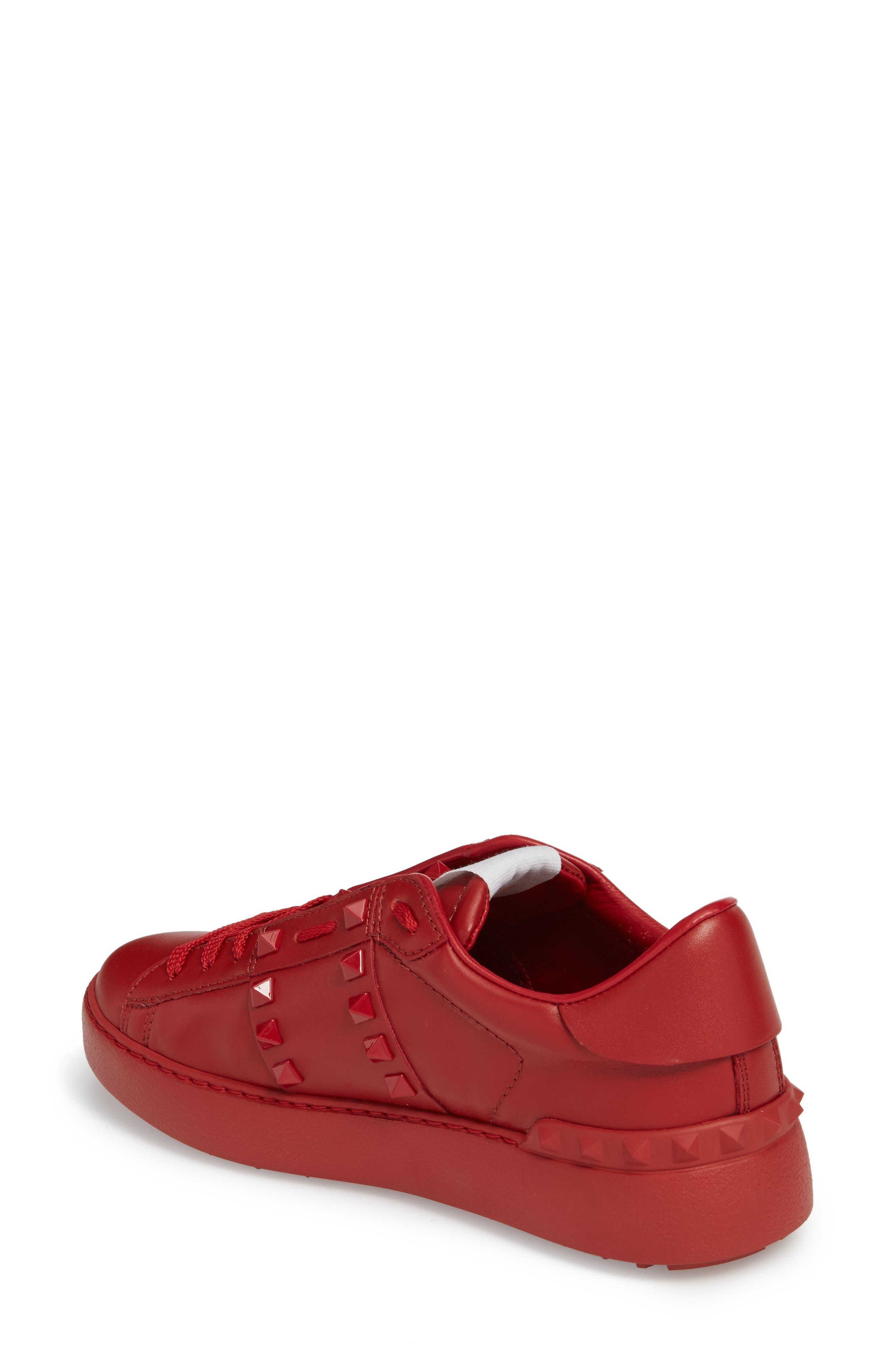 Rockstud Sneaker,                             Alternate thumbnail 2, color,                             Red
