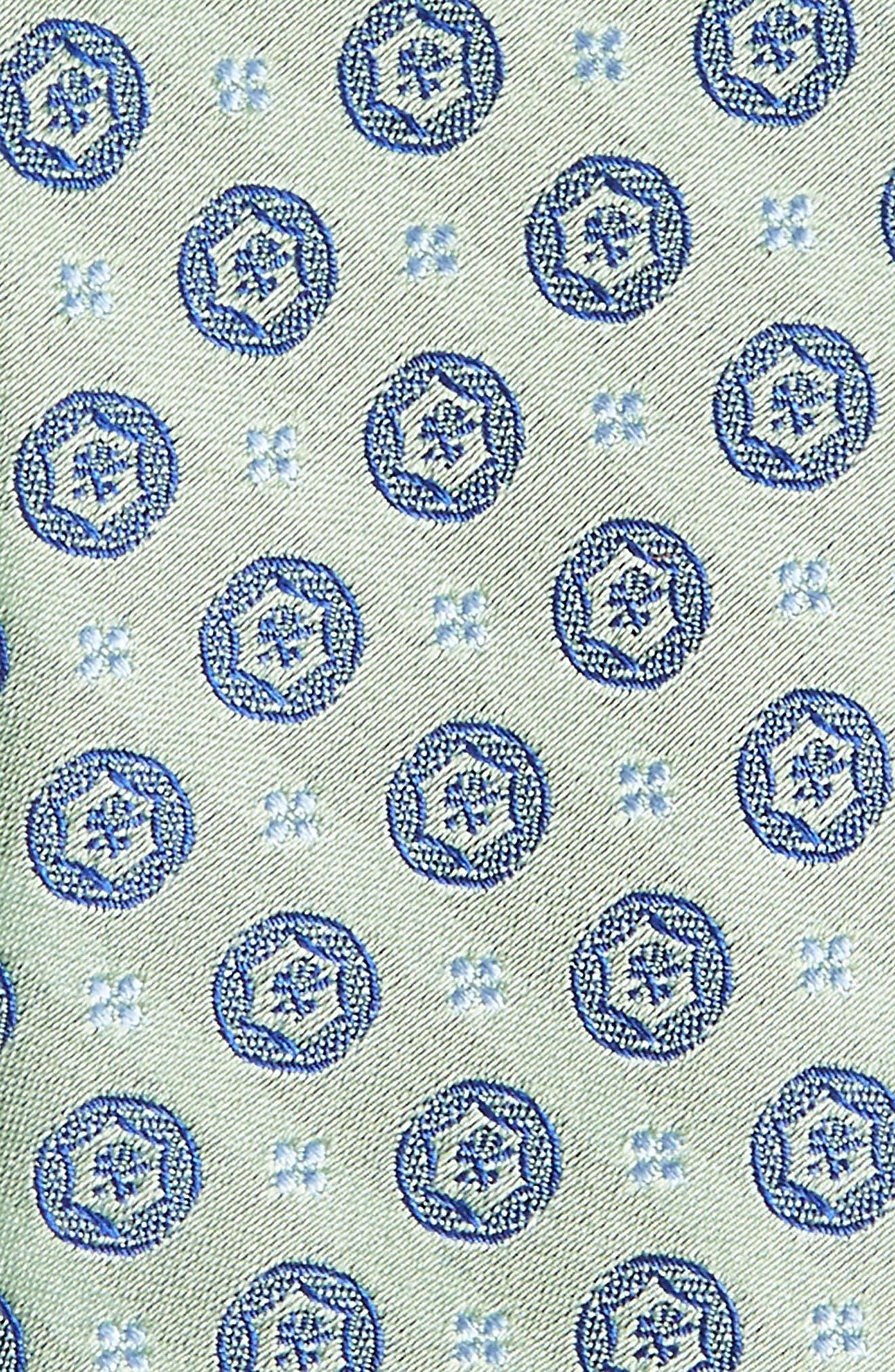 Modern Medallion Silk Skinny Tie,                             Alternate thumbnail 3, color,                             Green