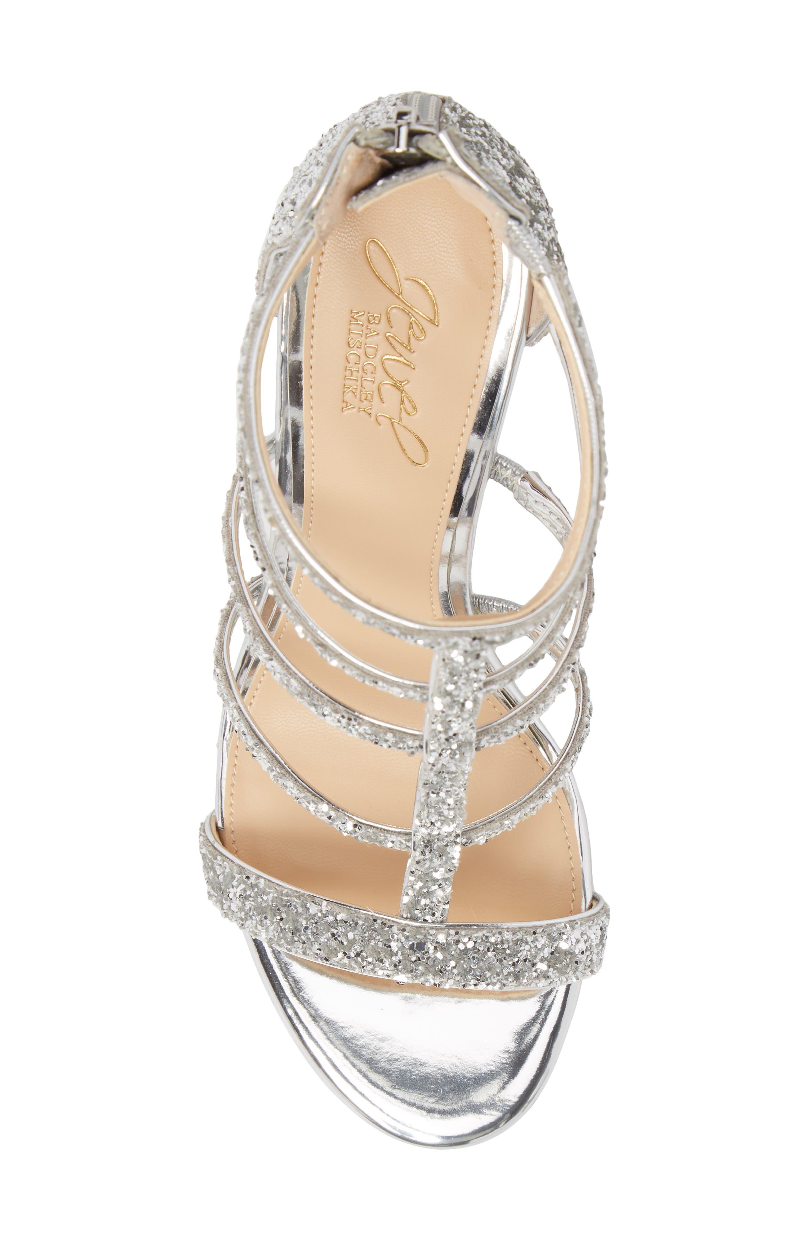 Alternate Image 5  - Jewel Badgley Mischka Tiffy Glitter Sandal (Women)
