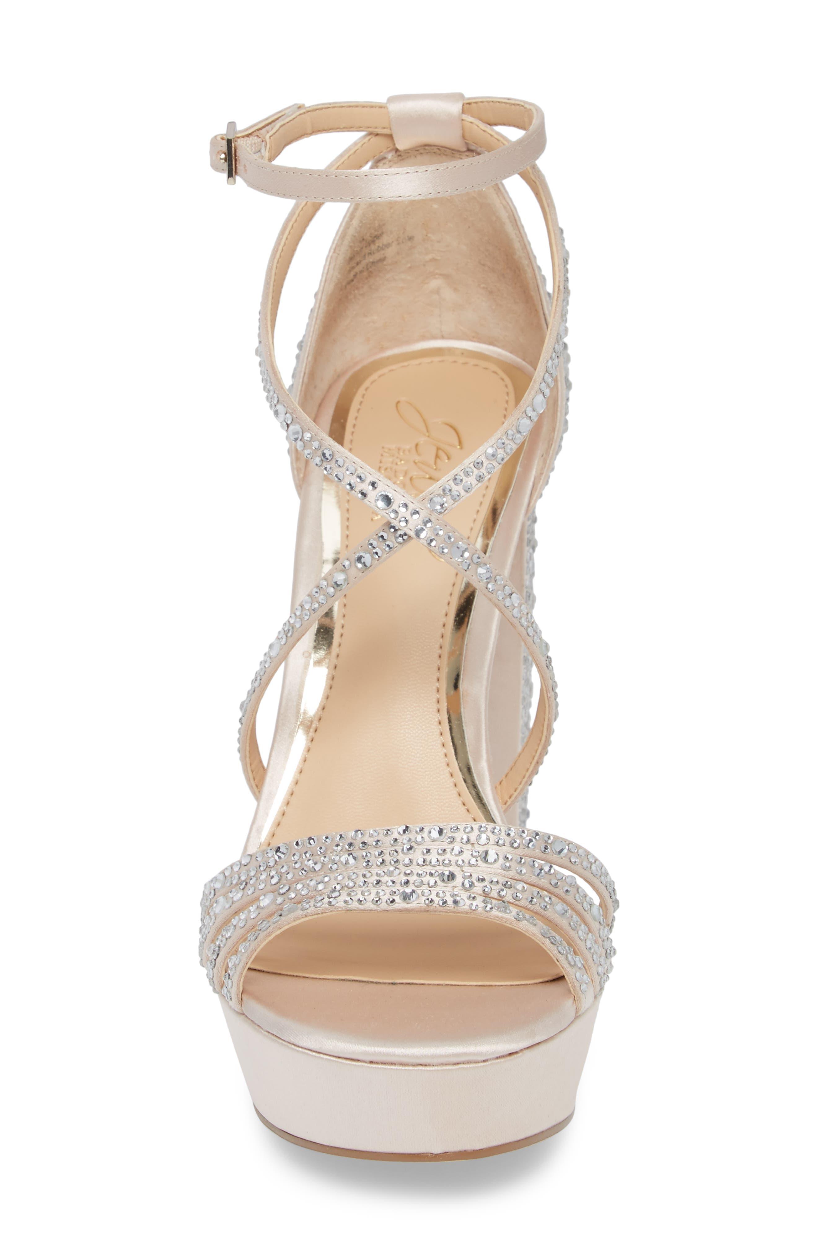 Tarah Crystal Embellished Platform Sandal,                             Alternate thumbnail 4, color,                             Champagne Satin