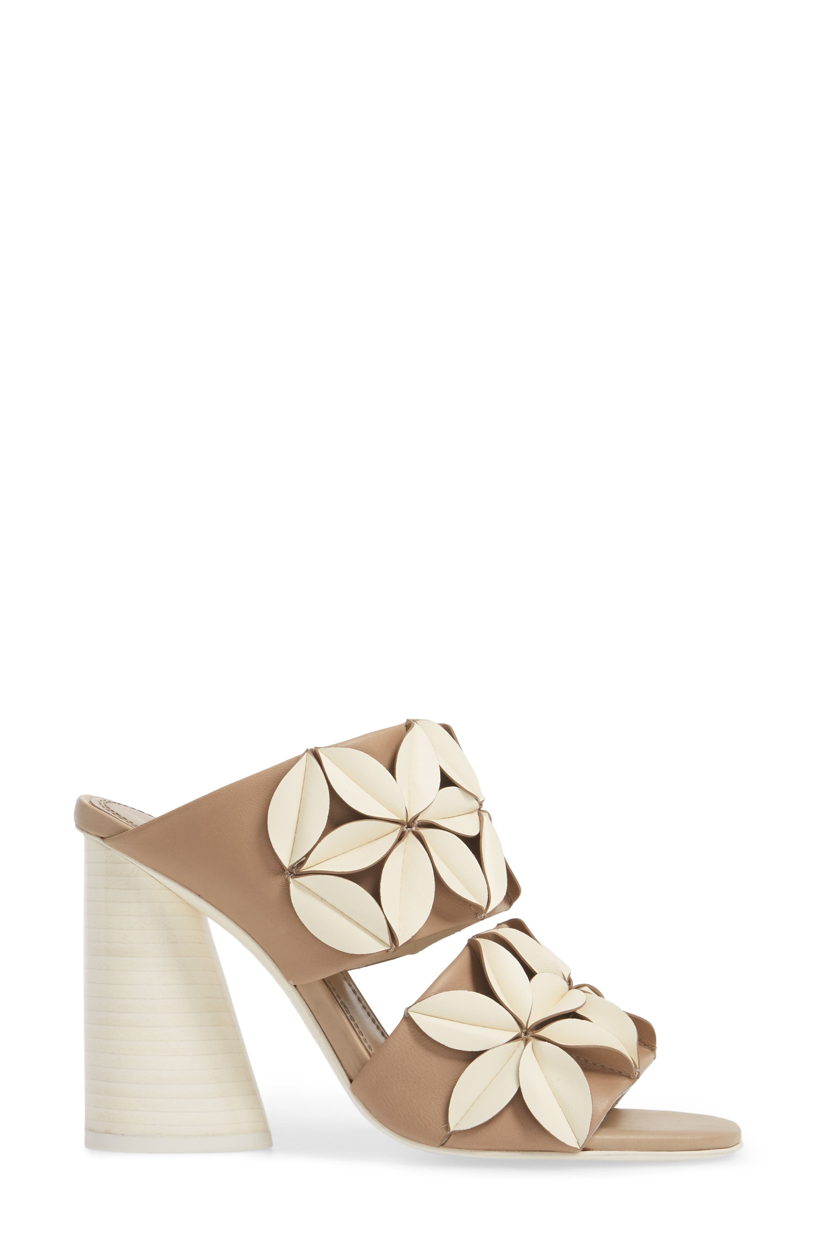 Mura Floral Embellished Mule,                             Alternate thumbnail 3, color,                             Ivory/ Taupe
