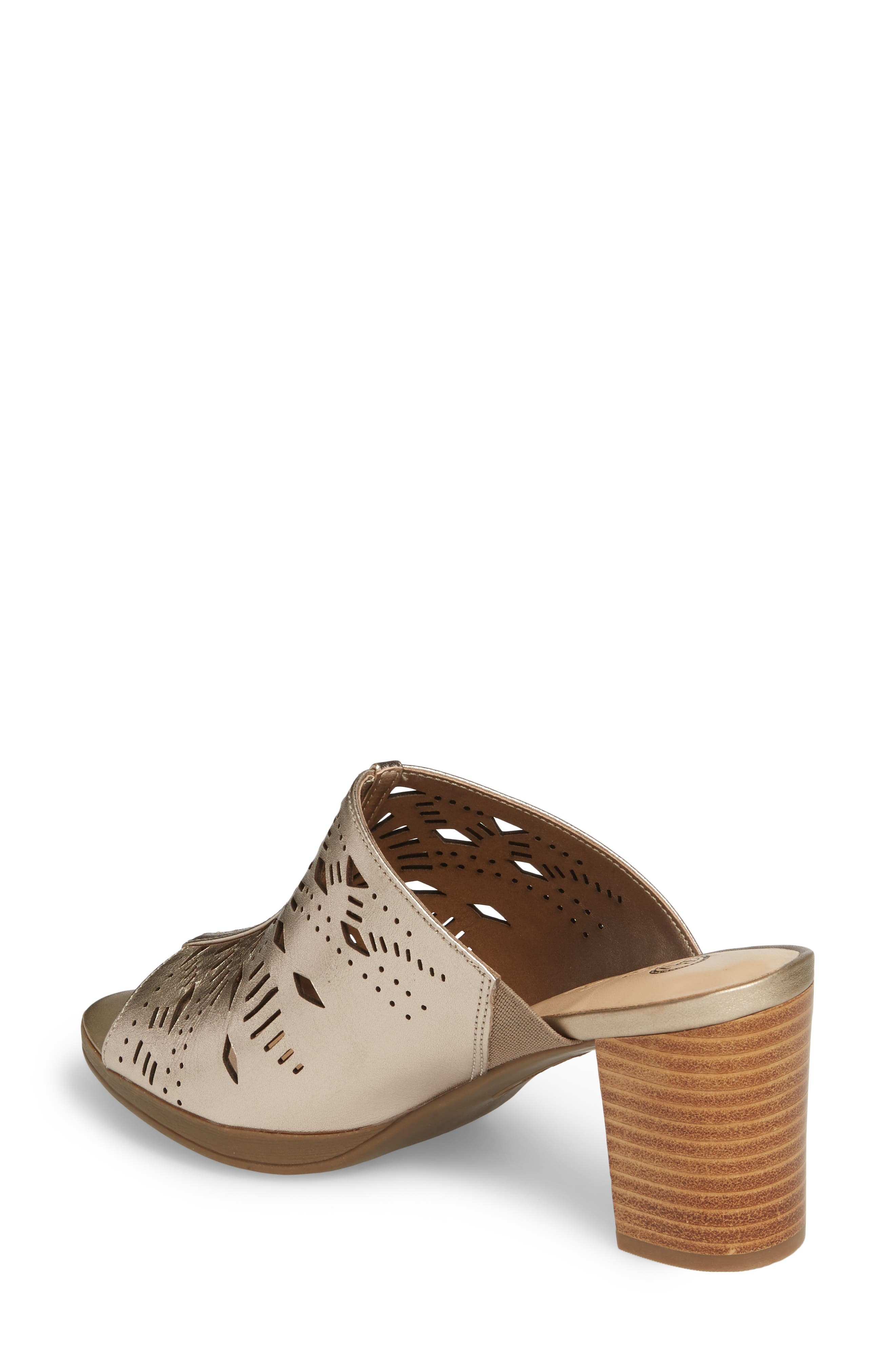 Lark Laser Perforated Slide Sandal,                             Alternate thumbnail 2, color,                             Champagne Leather
