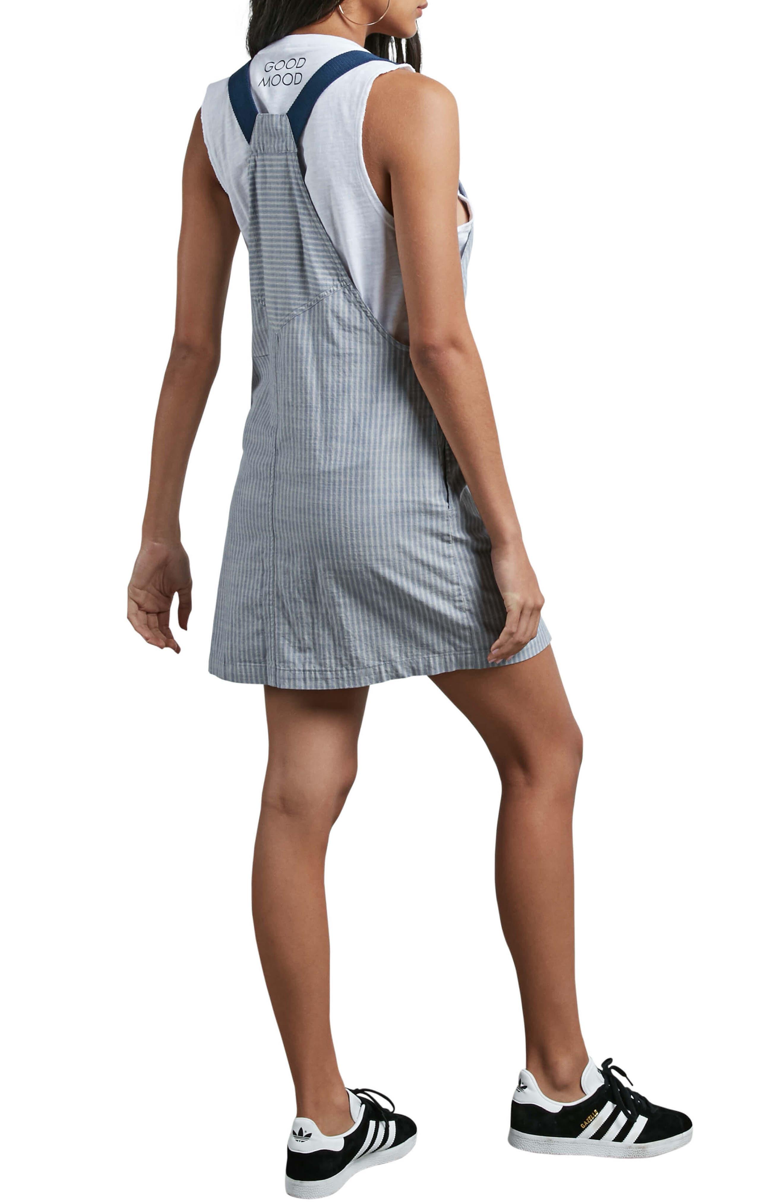 Alternate Image 2  - Volcom Stripe Chambray Pinafore Dress