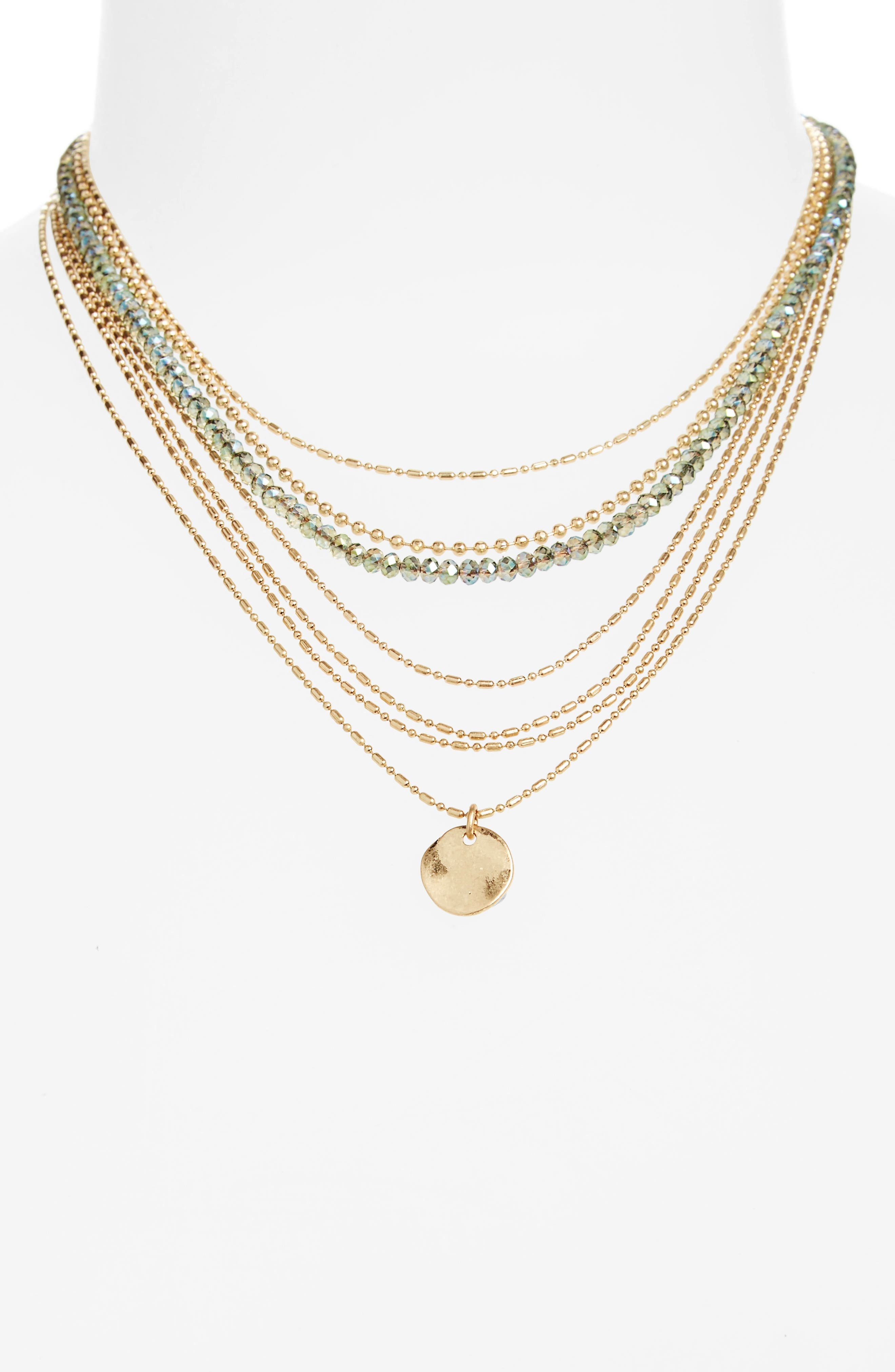 Seven-Layer Bead Necklace,                         Main,                         color, Green- Gold