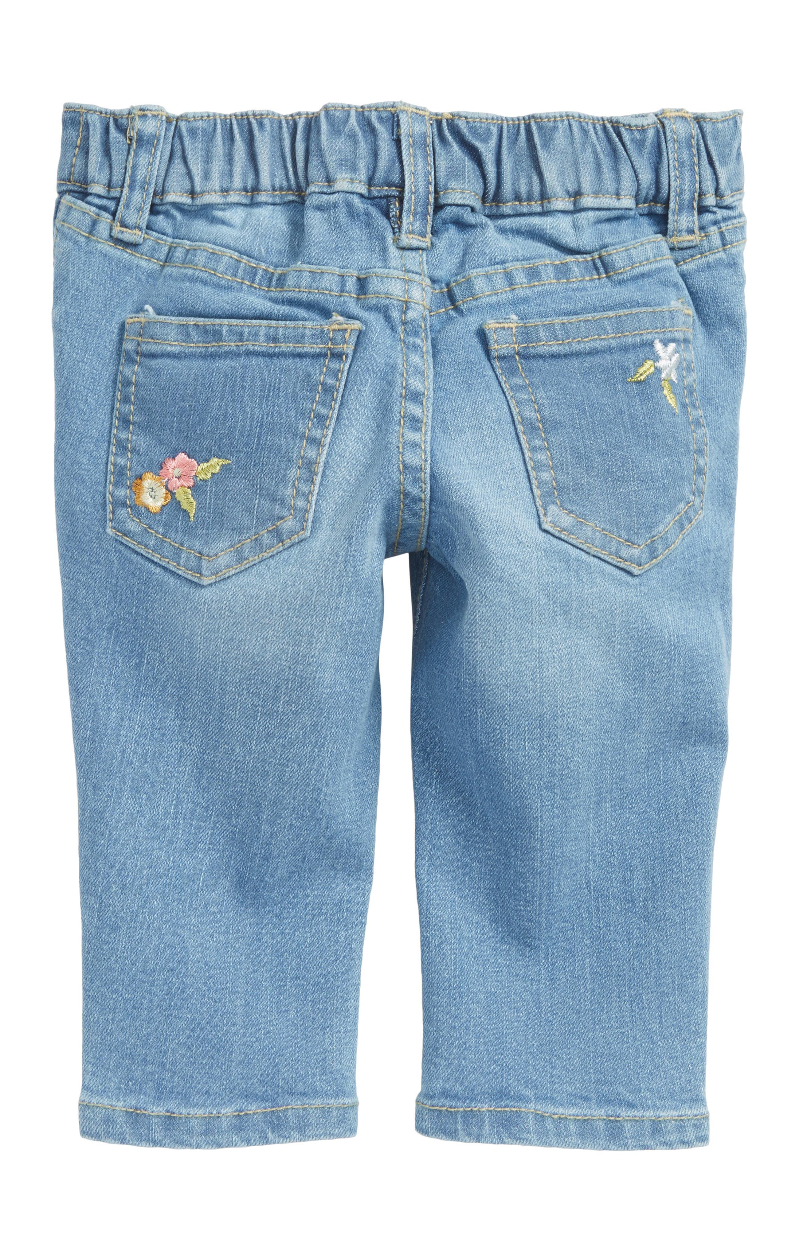Alternate Image 2  - Peek Taylor Embroidered Jeans (Baby Girls)