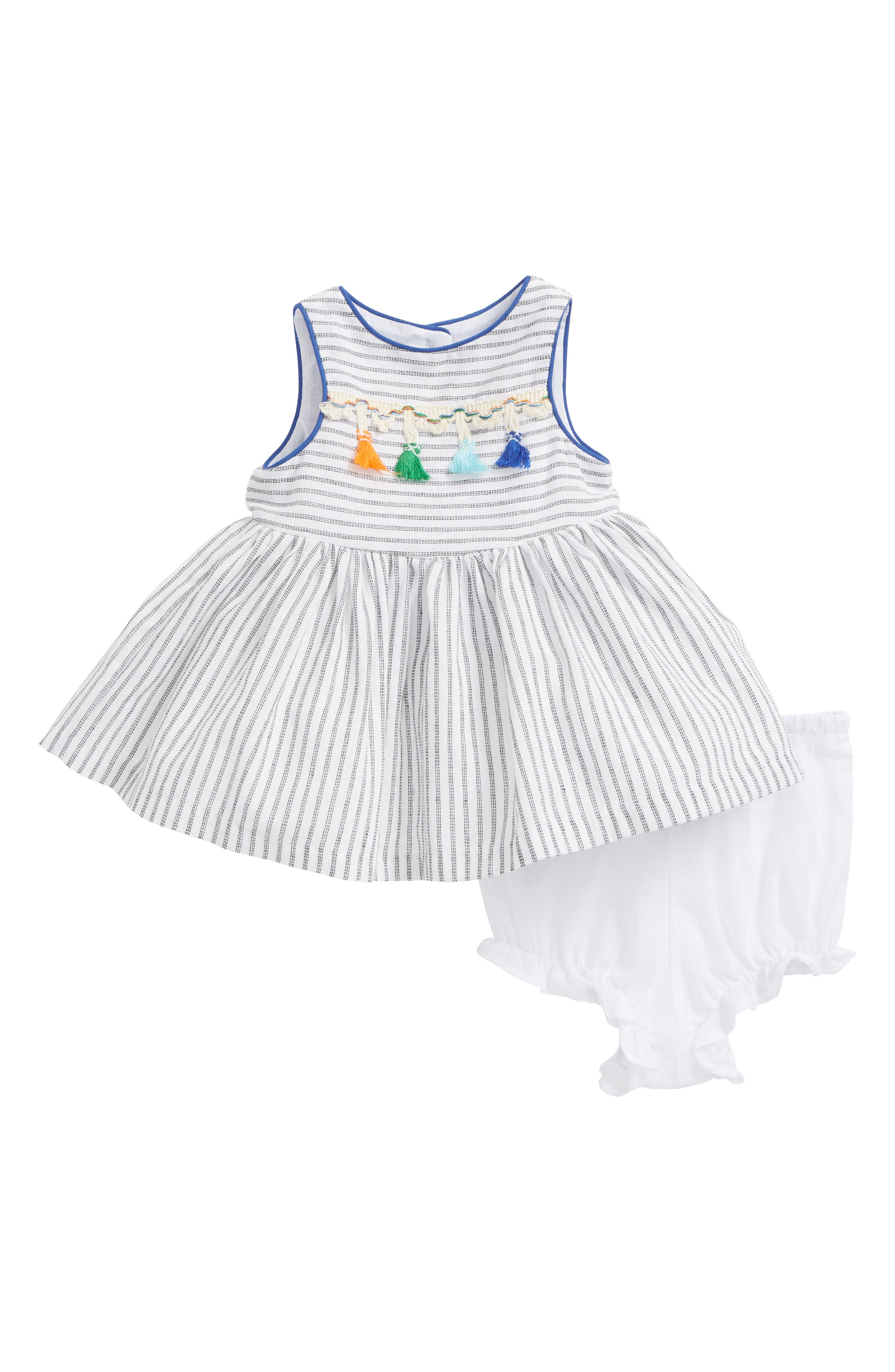 Alternate Image 1 Selected - Pippa & Julie Stripe Tassel Dress (Baby Girls)