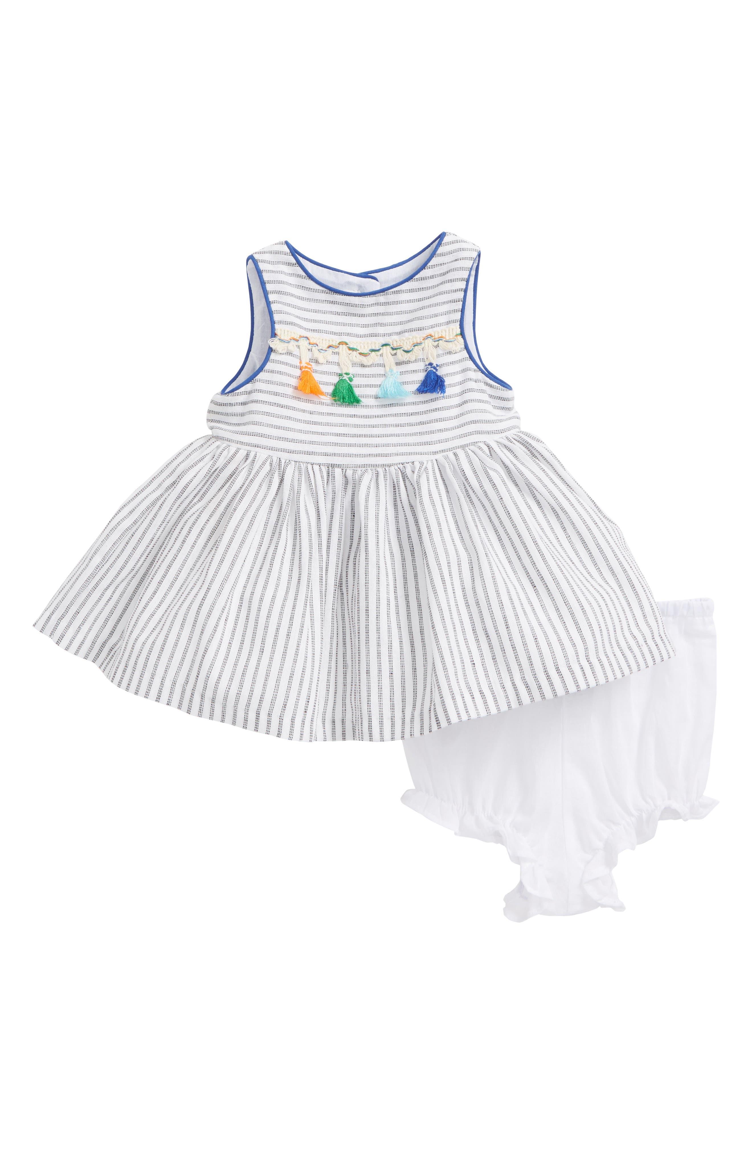 Stripe Tassel Dress,                         Main,                         color, White/ Black