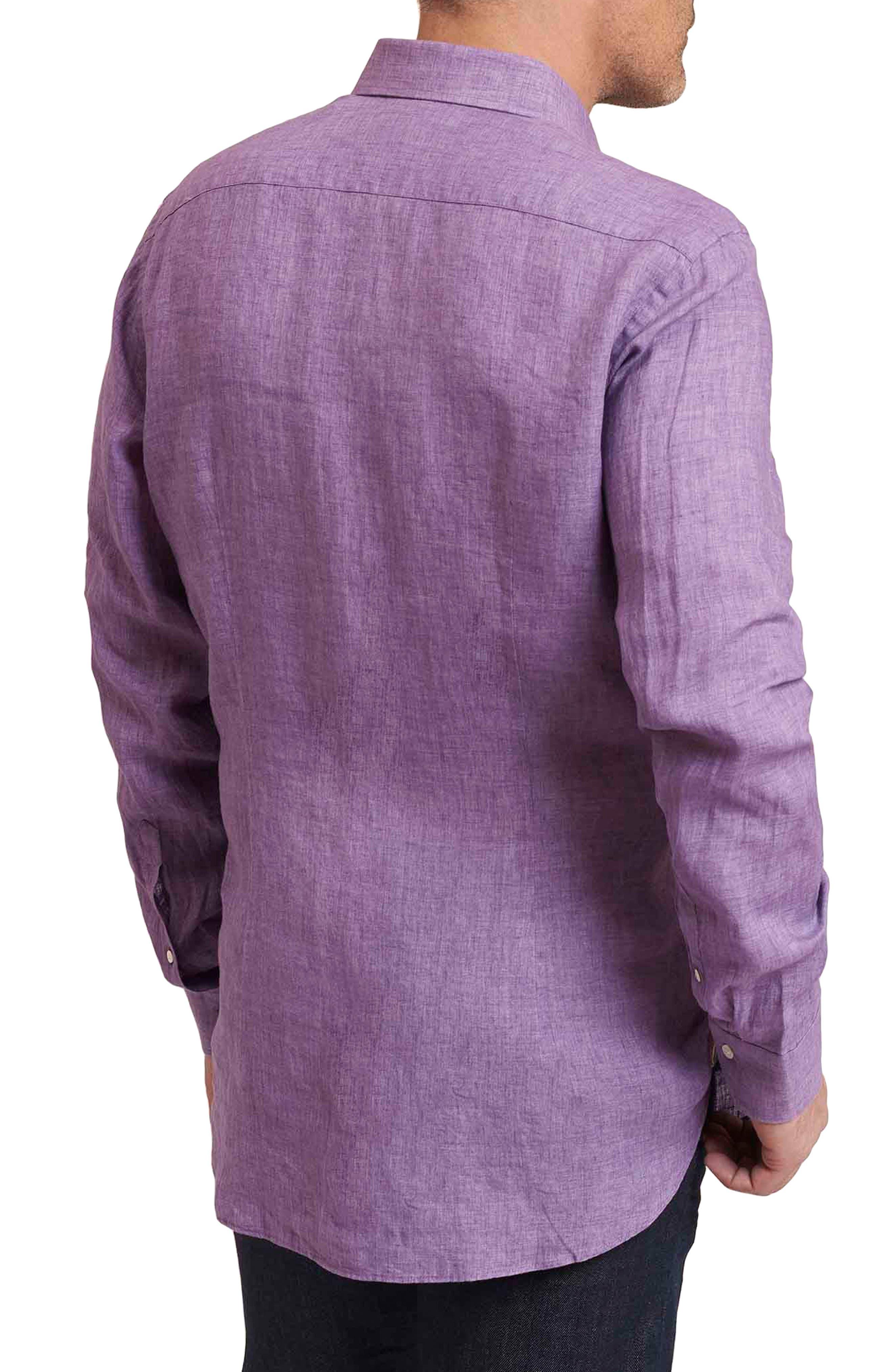 Delave Regular Fit Linen Sport Shirt,                             Alternate thumbnail 2, color,                             Purple