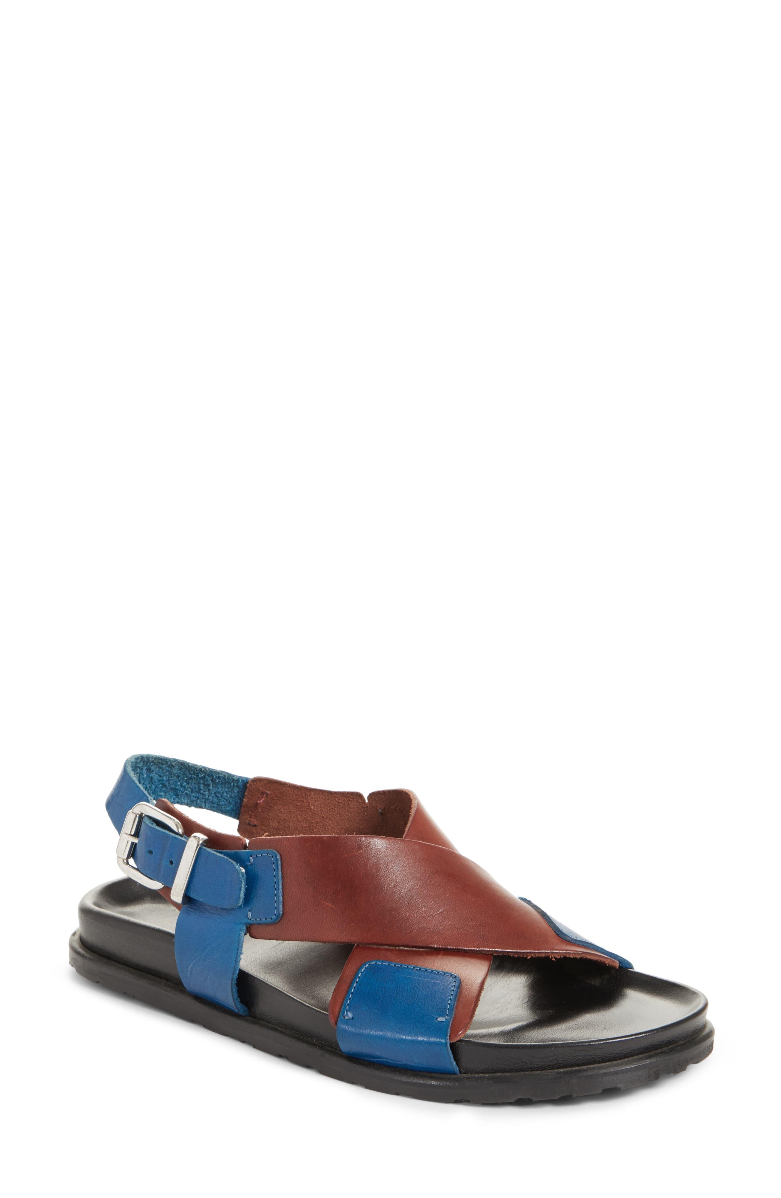 Bicolor Strappy Sandal,                             Main thumbnail 1, color,                             5Marsala/Denim