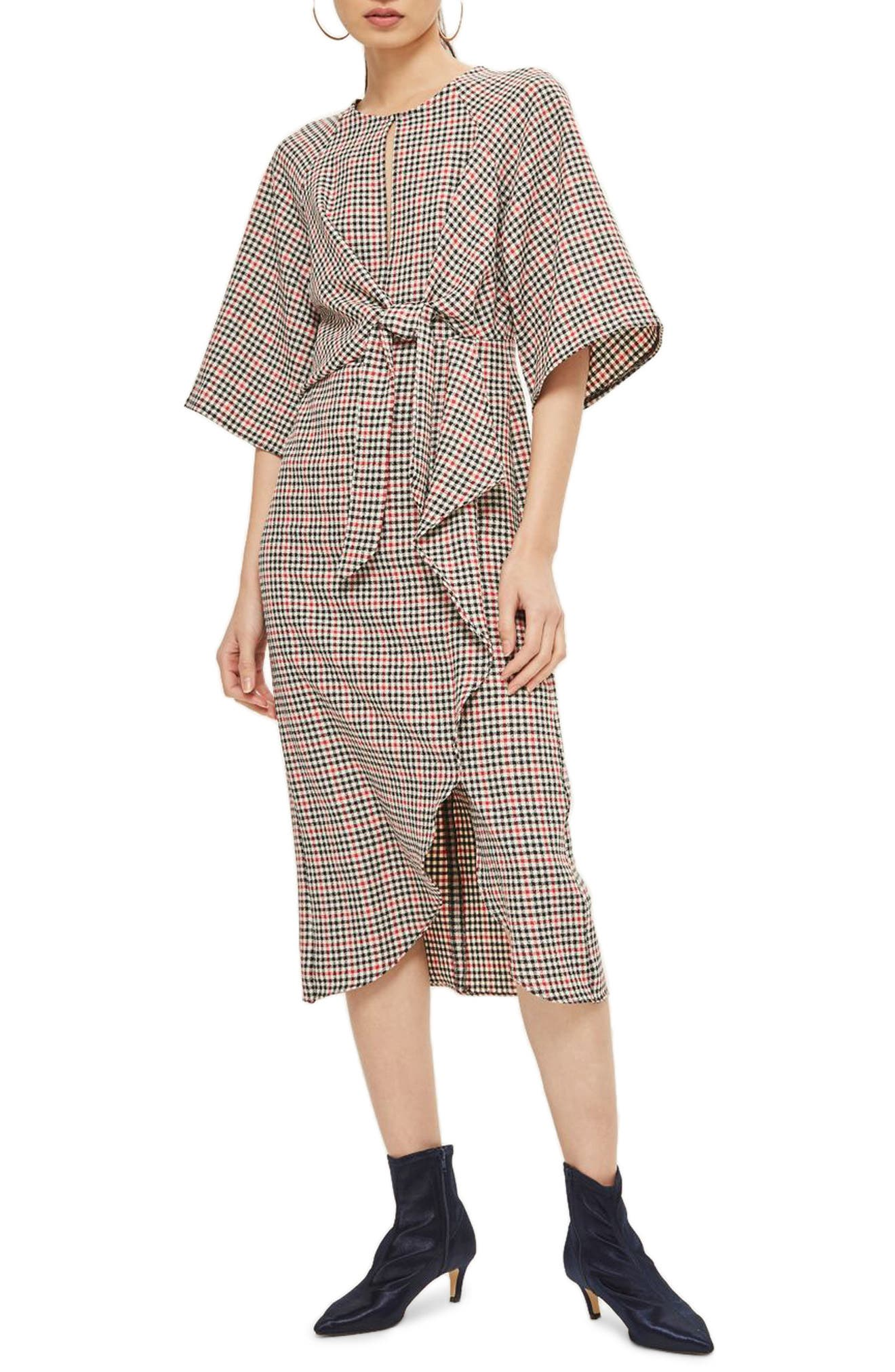 Topshop Plaid Knot Front Midi Dress