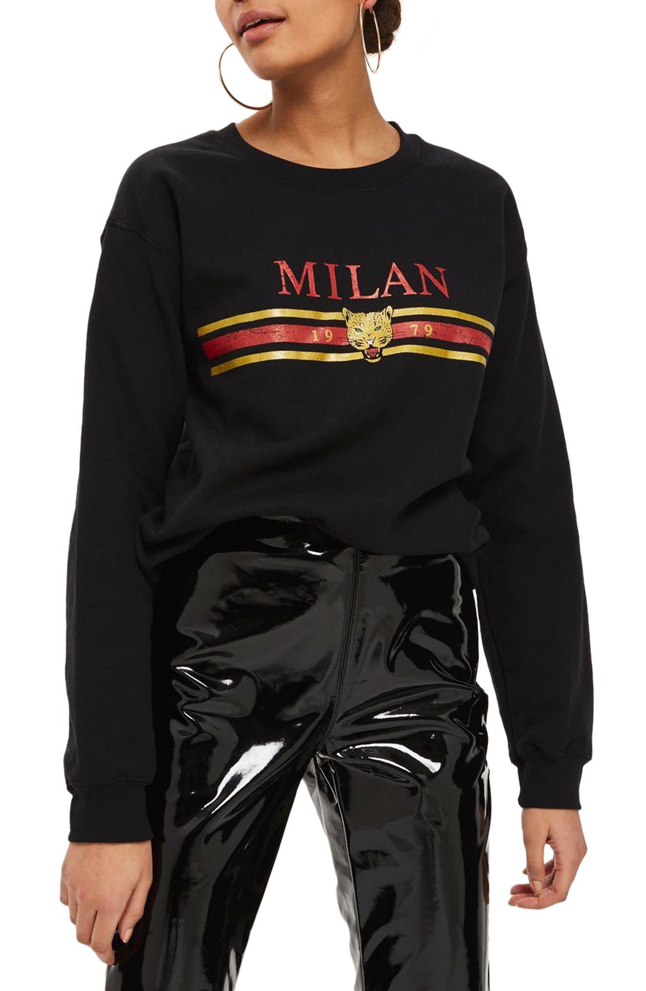Milan Graphic Sweatshirt,                             Main thumbnail 1, color,                             Black Multi