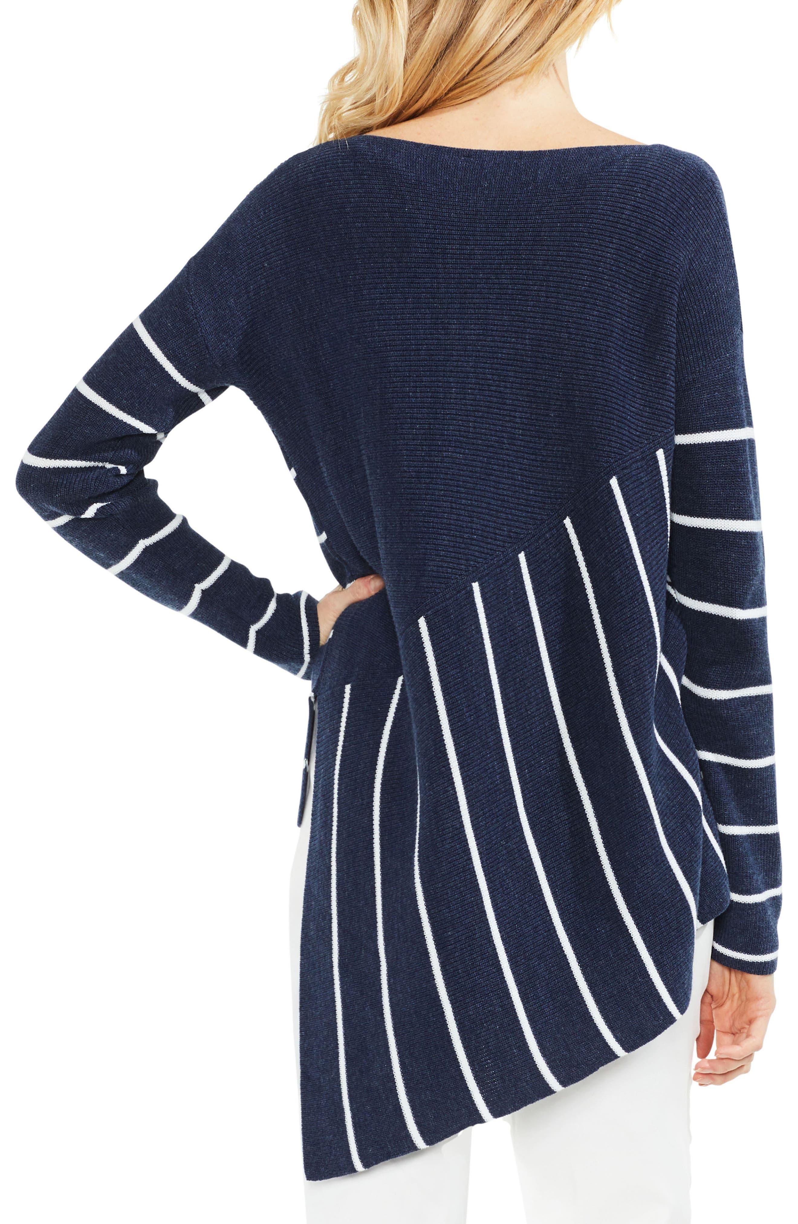 Asymmetrical Hem Stripe Sweater,                             Alternate thumbnail 2, color,                             Indigo Night Heather