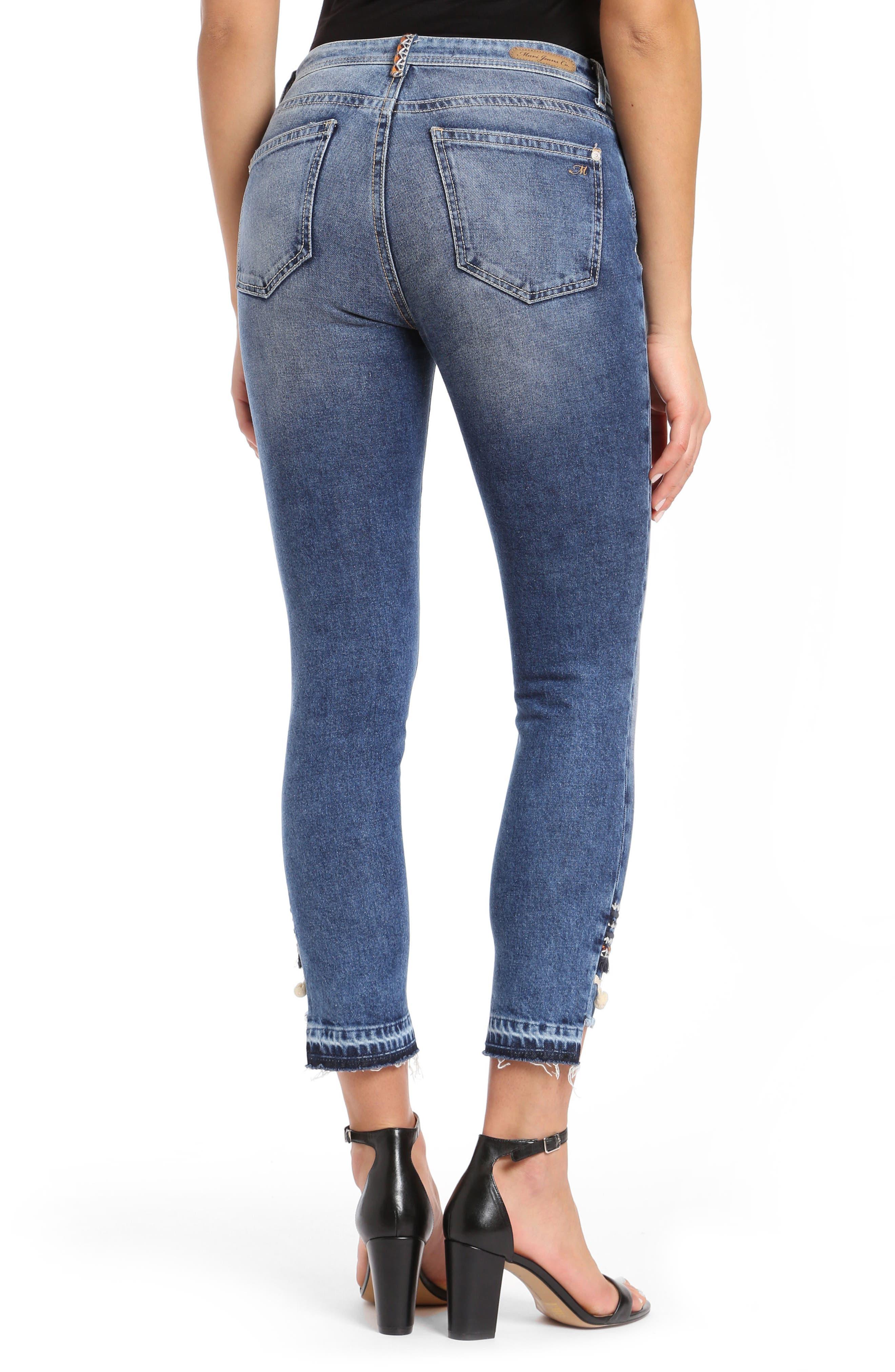 Tess Super Skinny Pompom Jeans,                             Alternate thumbnail 2, color,                             Dark Desert Deco