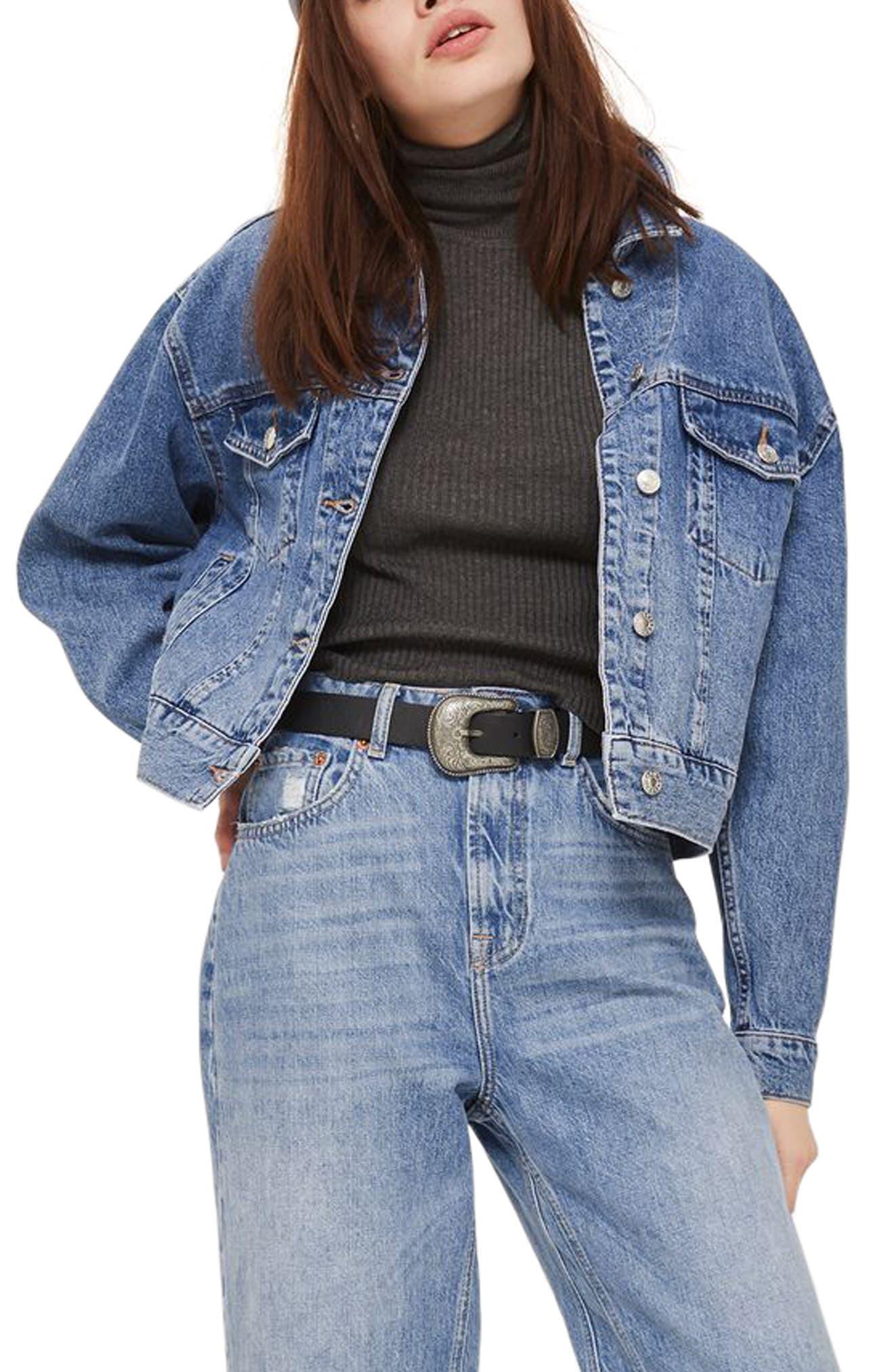 Topshop Boxy Crop Denim Jacket