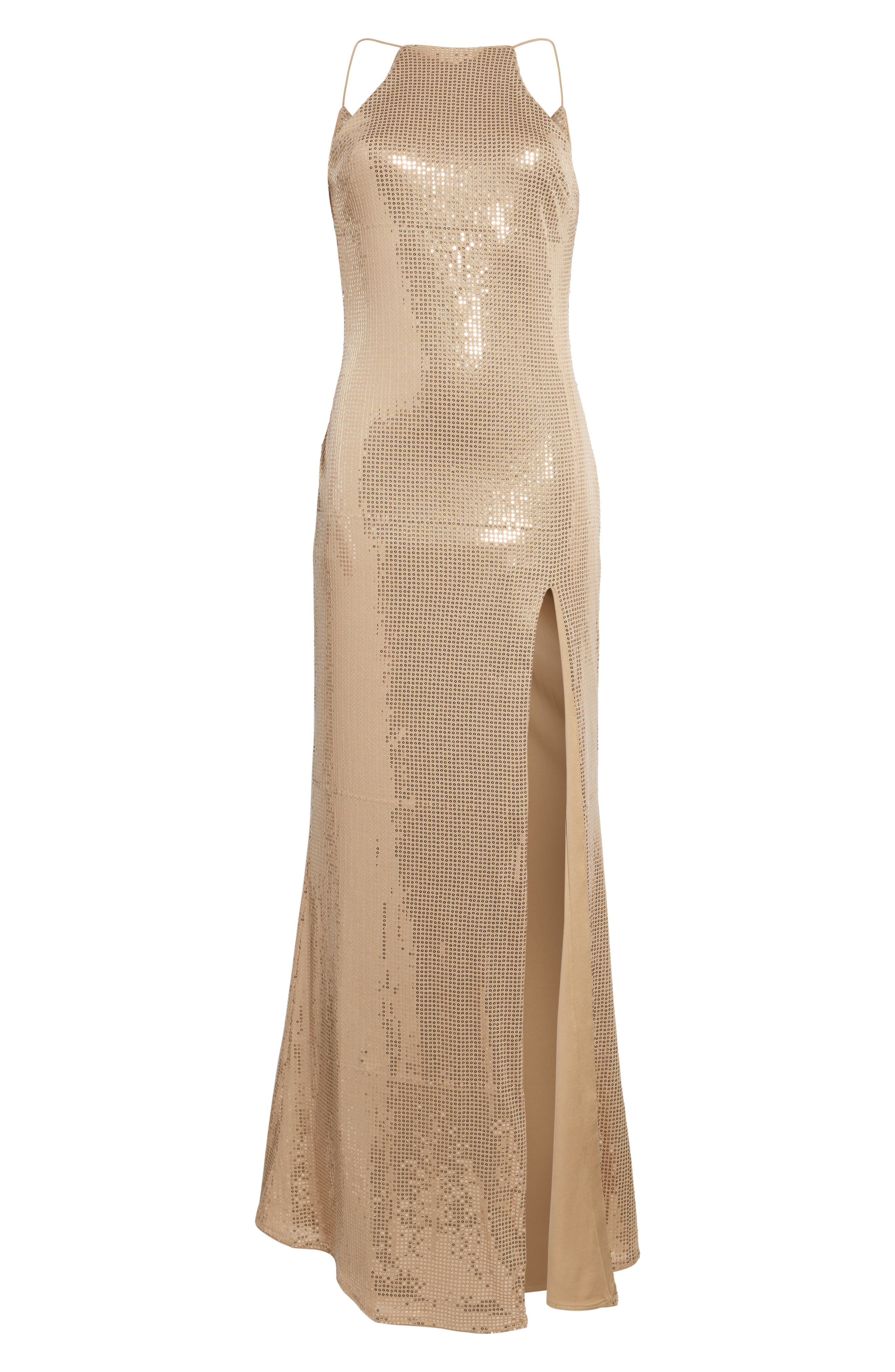 Jacket Halter Gown,                             Alternate thumbnail 6, color,                             Taupe