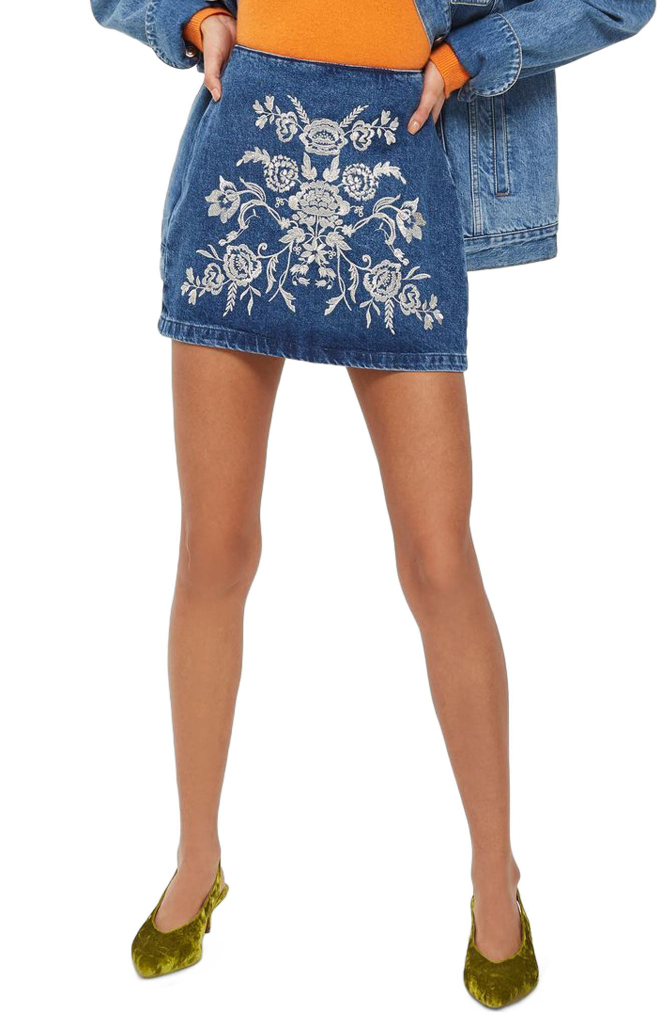 Floral Embroidered A-Line Skirt,                             Main thumbnail 1, color,                             Mid Denim