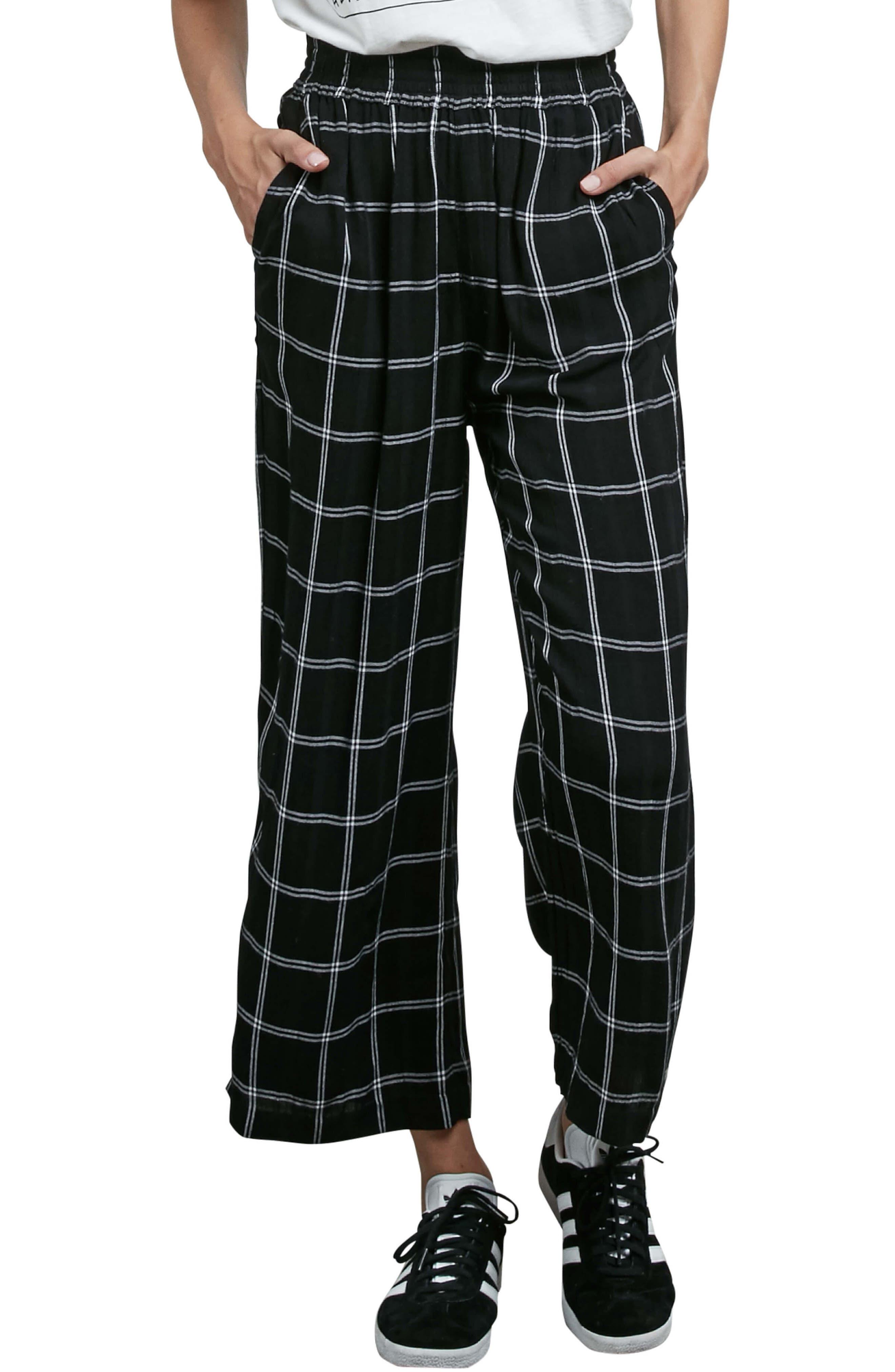 Jumponit Windowpane Crop Pants,                             Main thumbnail 1, color,                             Black