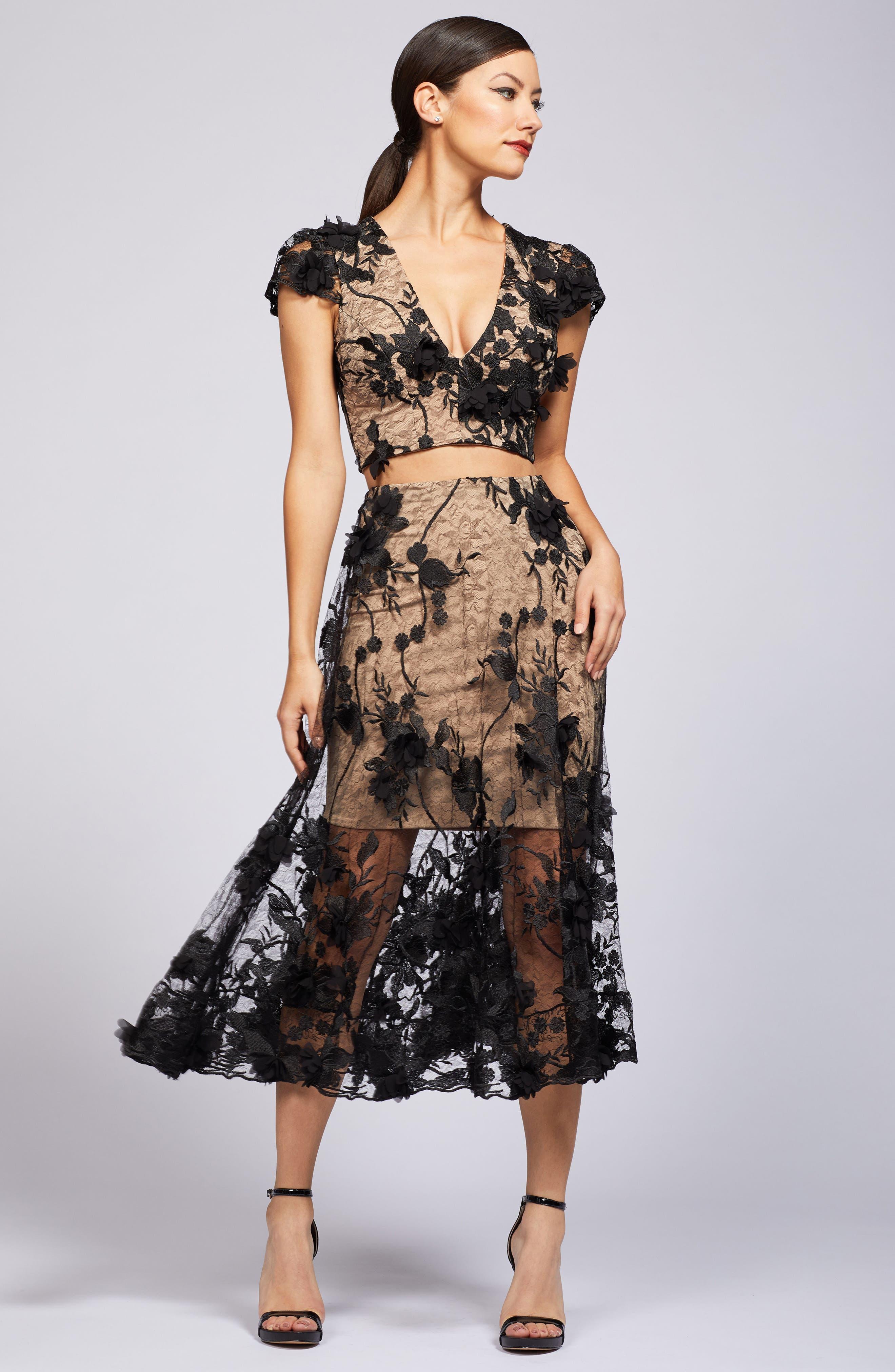 Alternate Image 2  - Dress the Population Juliana 3D Lace Two-Piece Dress