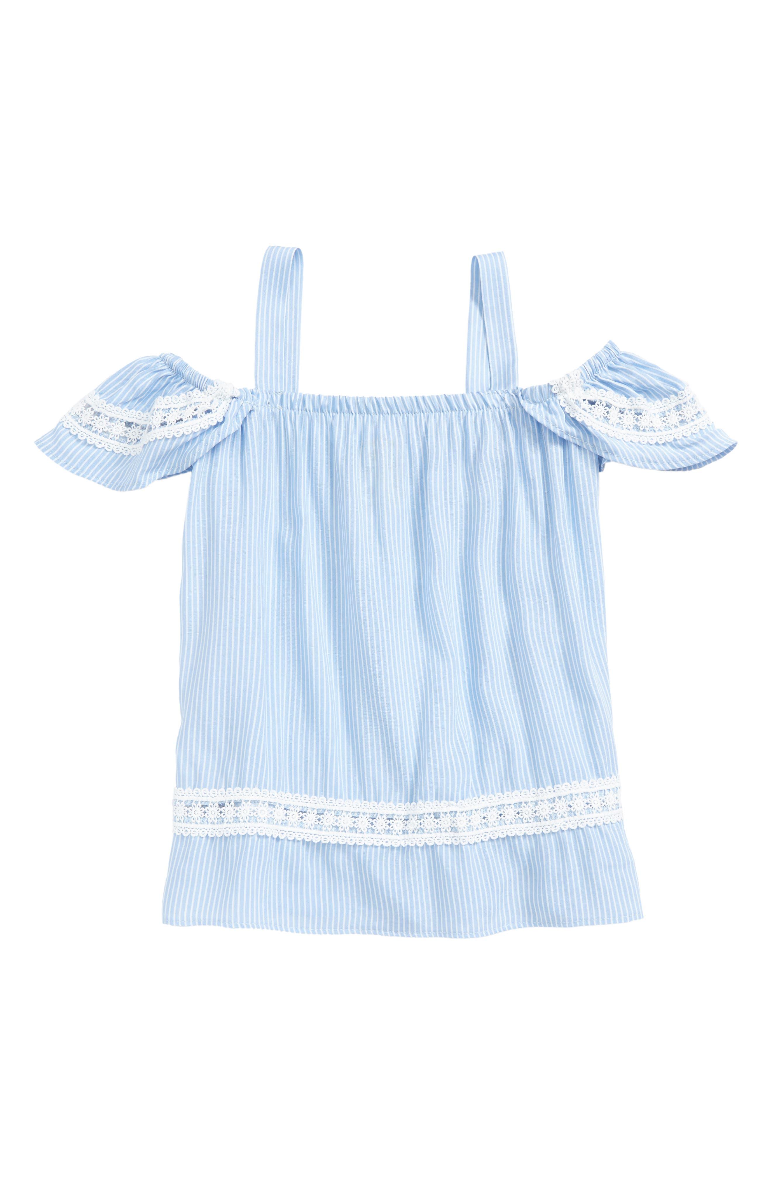 Stripe Off the Shoulder Top,                         Main,                         color, Blue Ivory