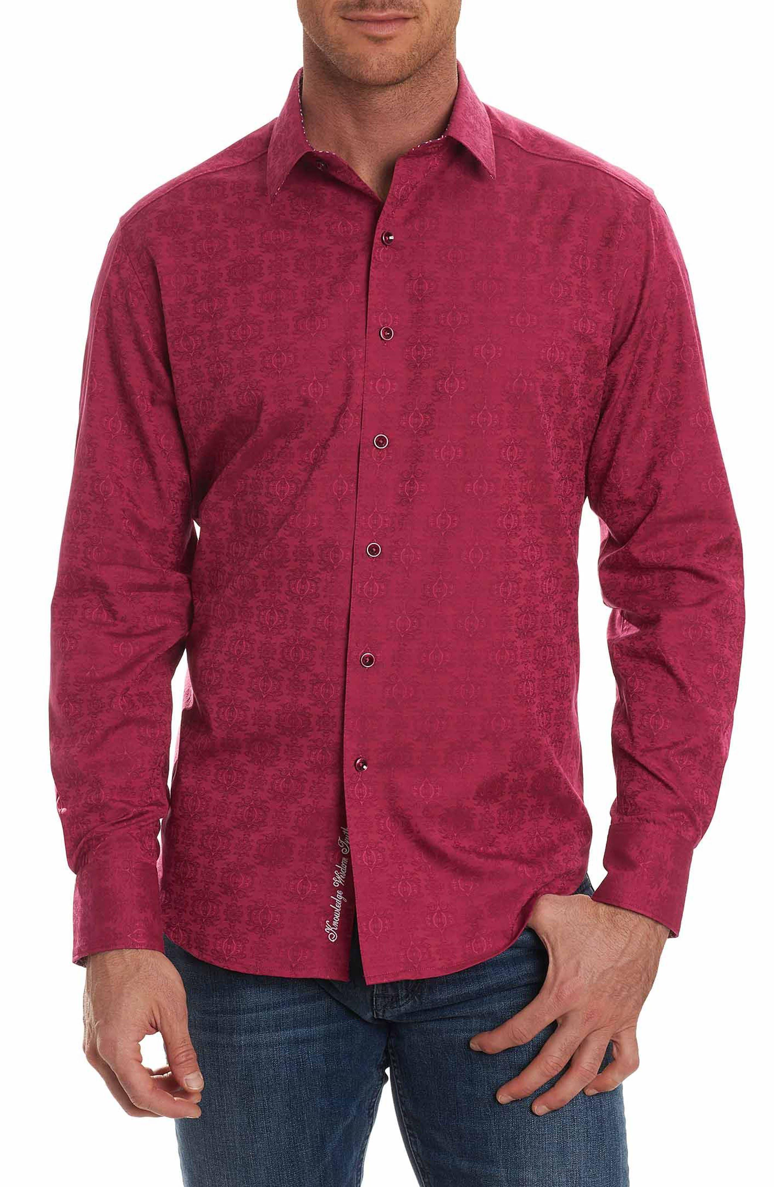 Cullen Classic Fit Jacquard Sport Shirt,                         Main,                         color, Rose
