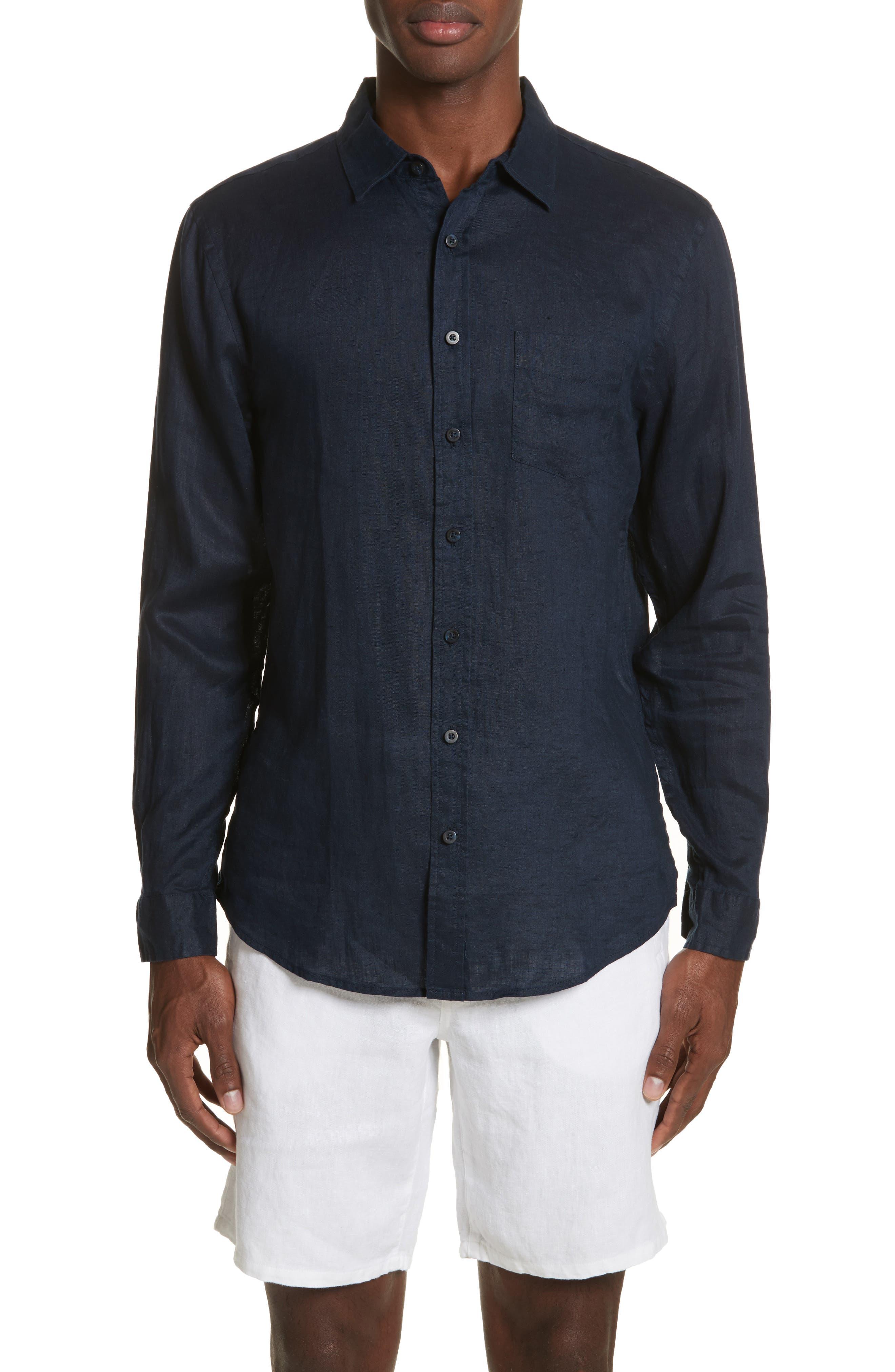 Abe Linen Shirt,                         Main,                         color, Deep Navy