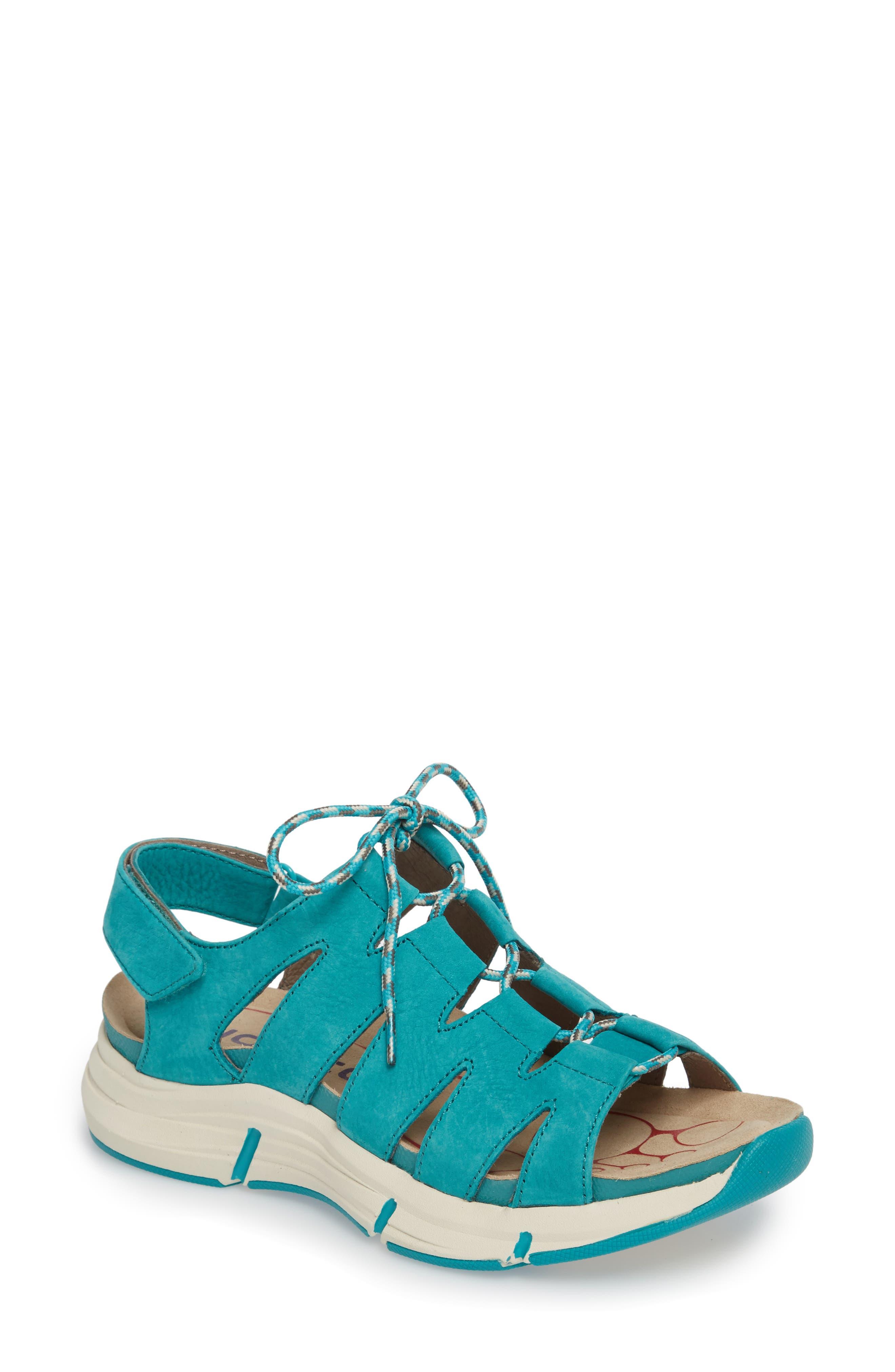 Olanda Ghillie Slingback Sandal,                         Main,                         color, Turquoise Leather