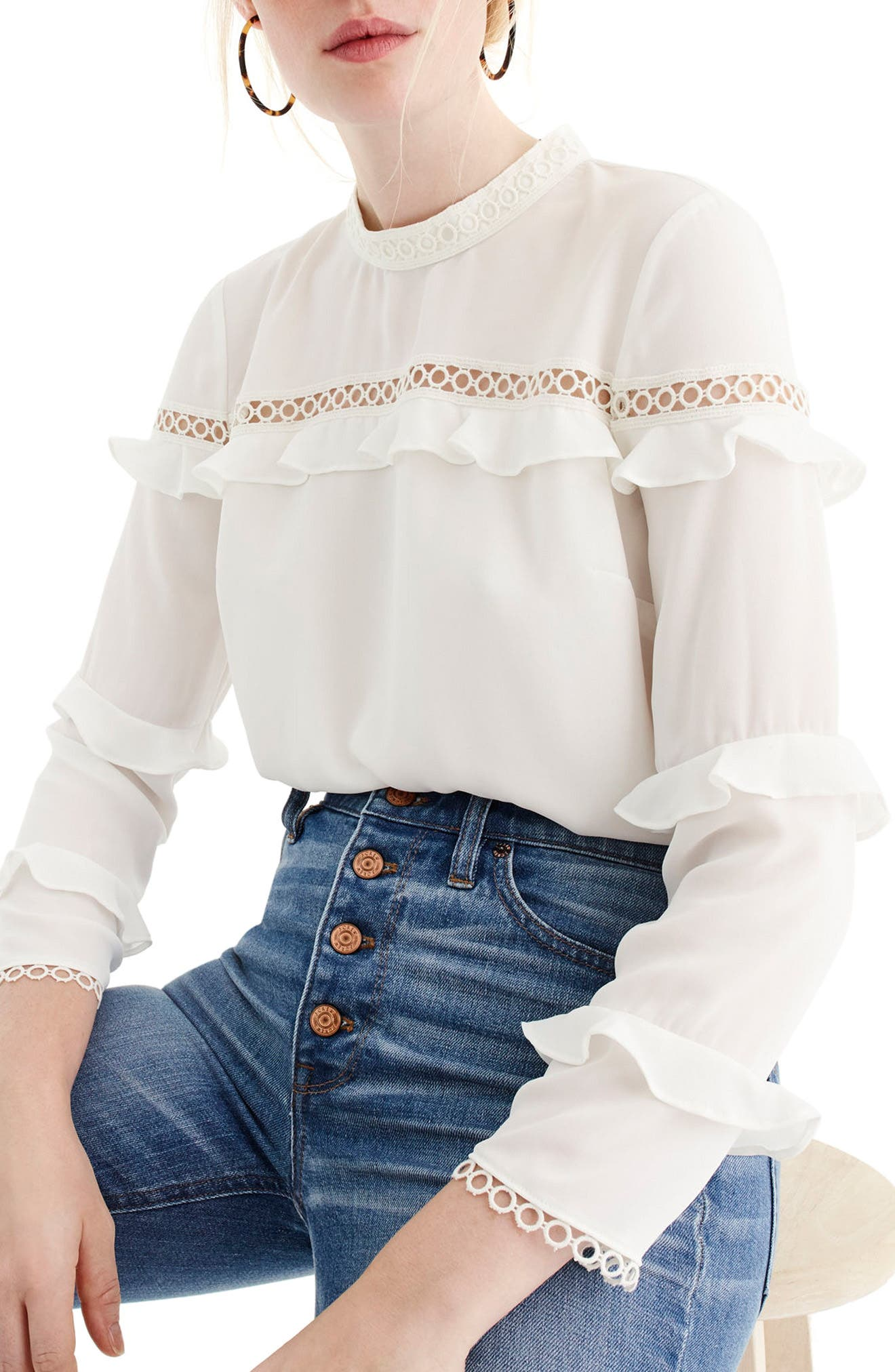 J.Crew Tiered Ruffle Top with Scalloped Lace Trim,                         Main,                         color, Ivory