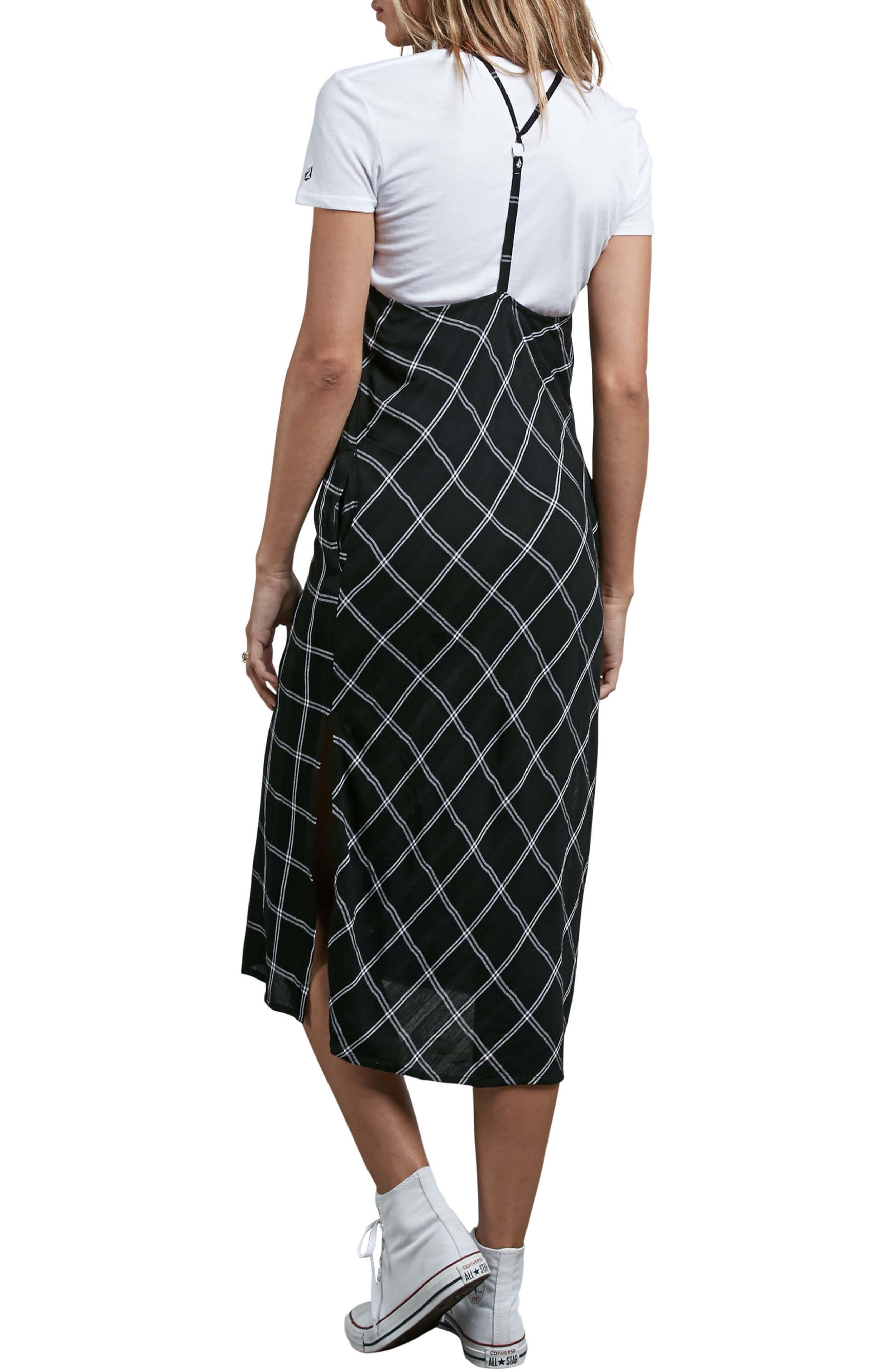 Jumponit Windowpane Print Midi Dress,                             Alternate thumbnail 2, color,                             Black