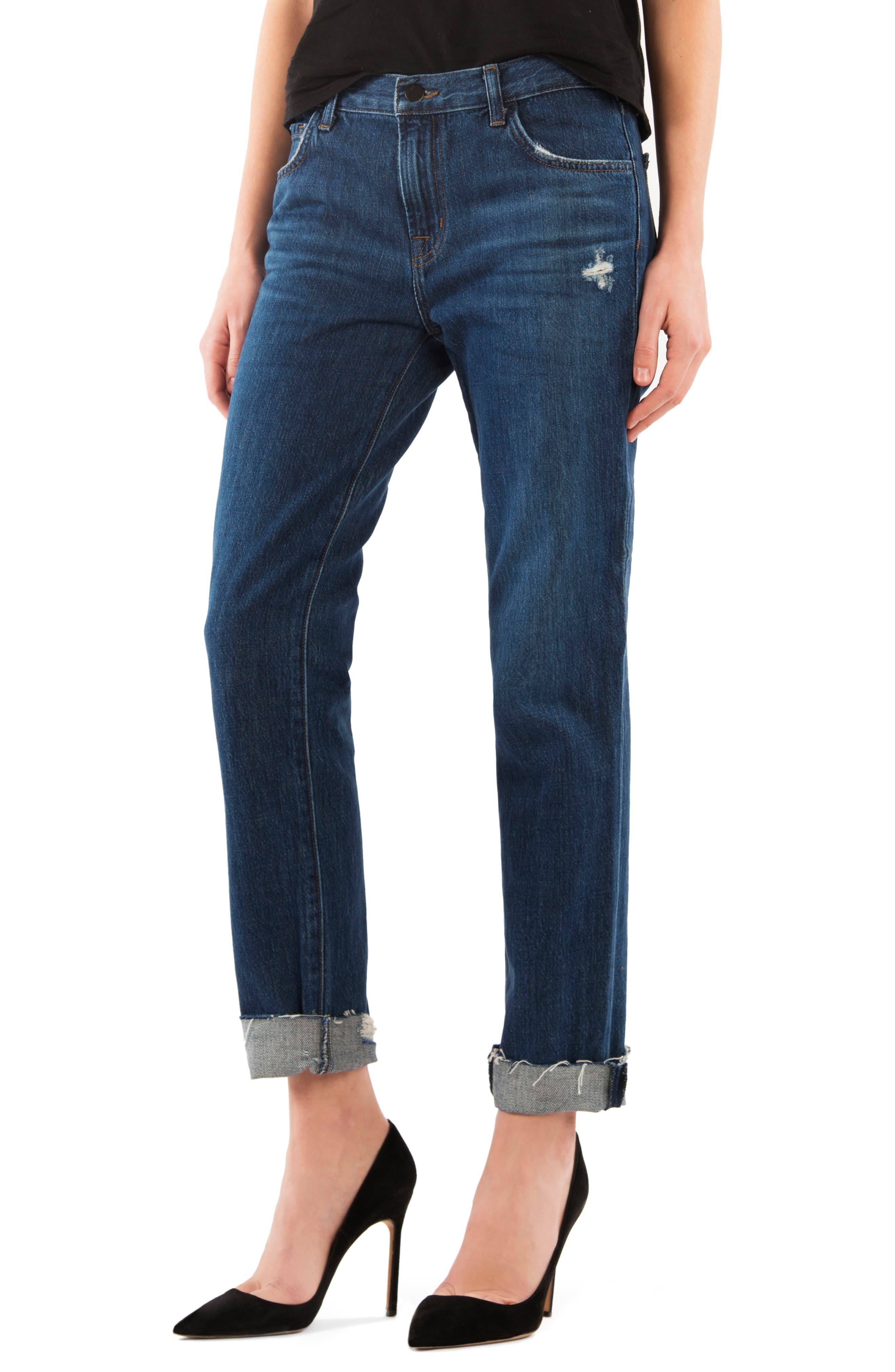 Alternate Image 1 Selected - J Brand Johnny Mid Rise Boyfriend Jeans (Doubletake)
