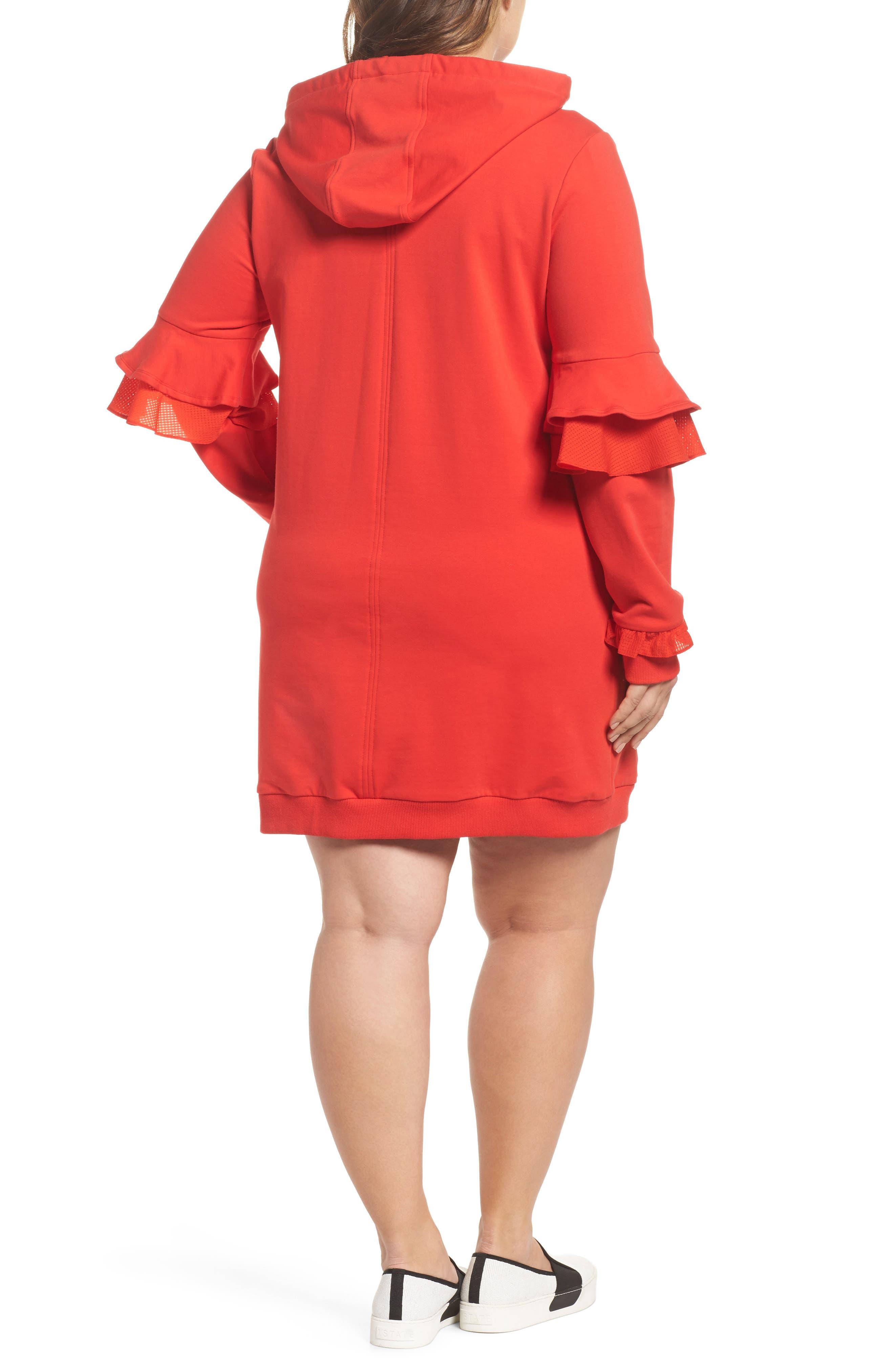 Alternate Image 2  - ELVI The Snapdragon Ruffle Sleeve Hoodie Dress (Regular & Plus Size)