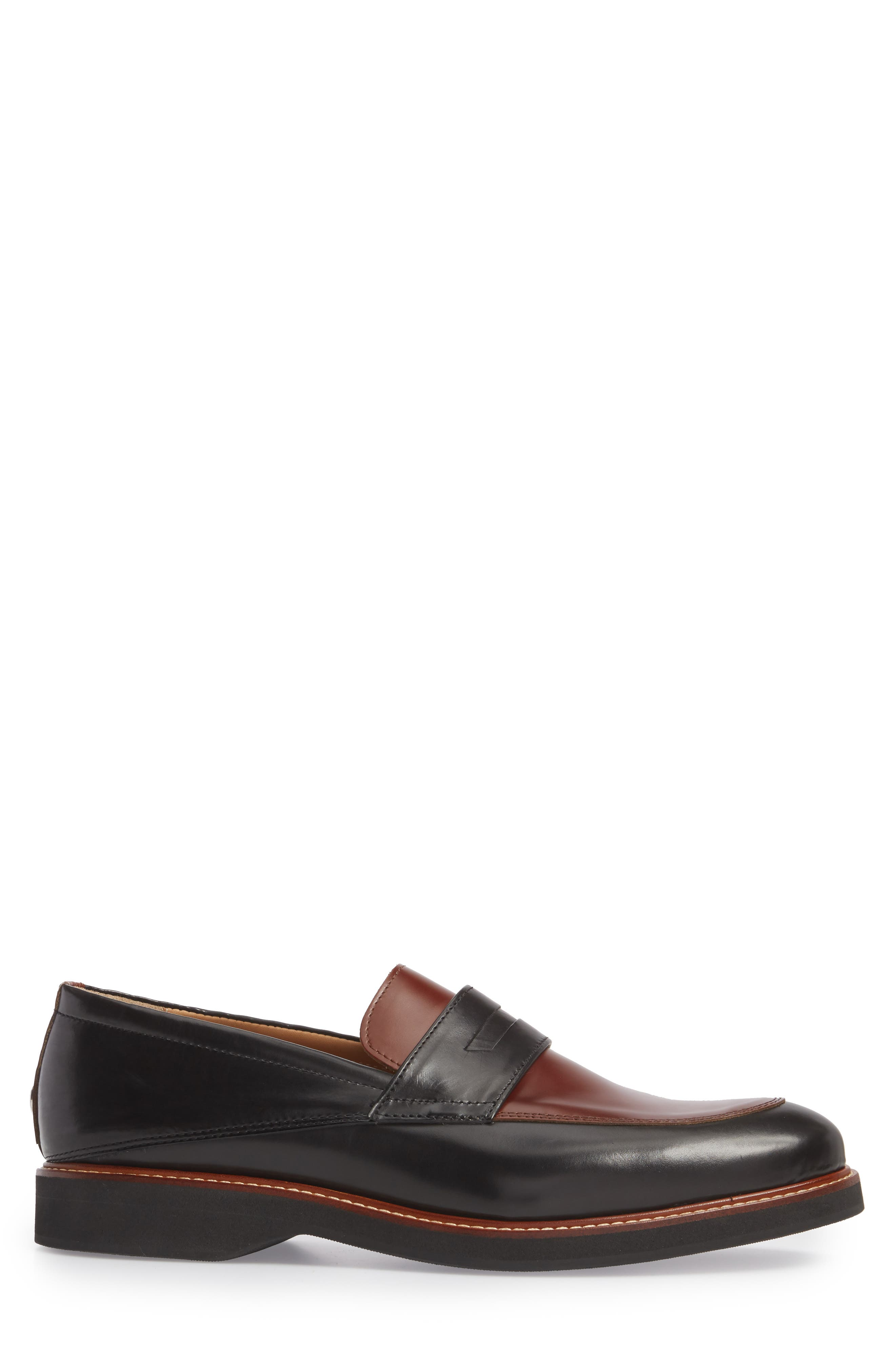 Marcus Penny Loafer,                             Alternate thumbnail 3, color,                             Black/ Cognac