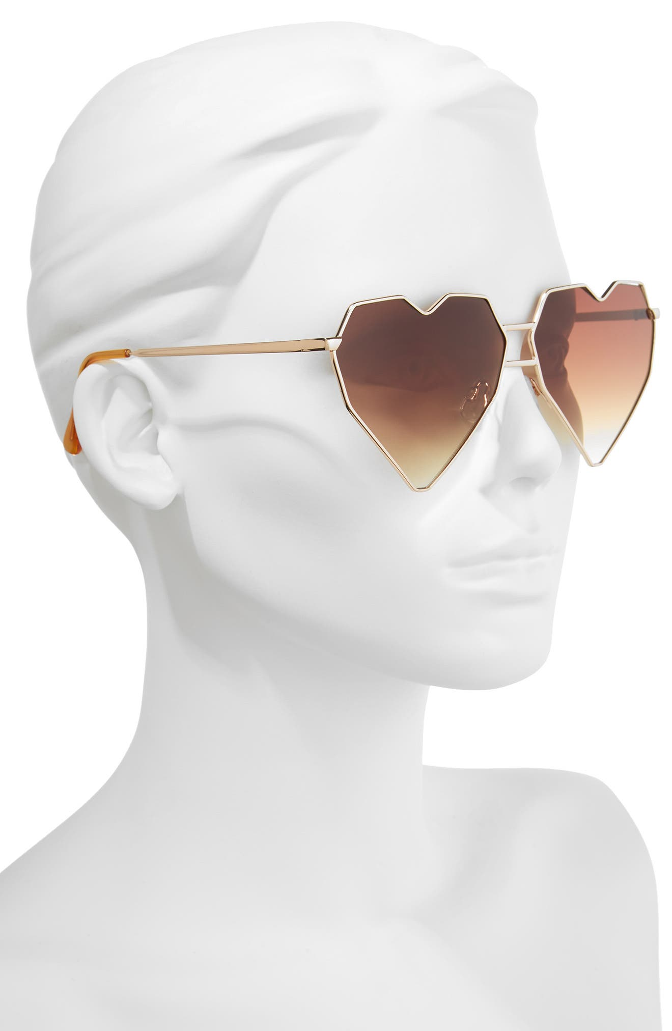 64mm Heart Shaped Sunglasses,                             Alternate thumbnail 2, color,                             Gold