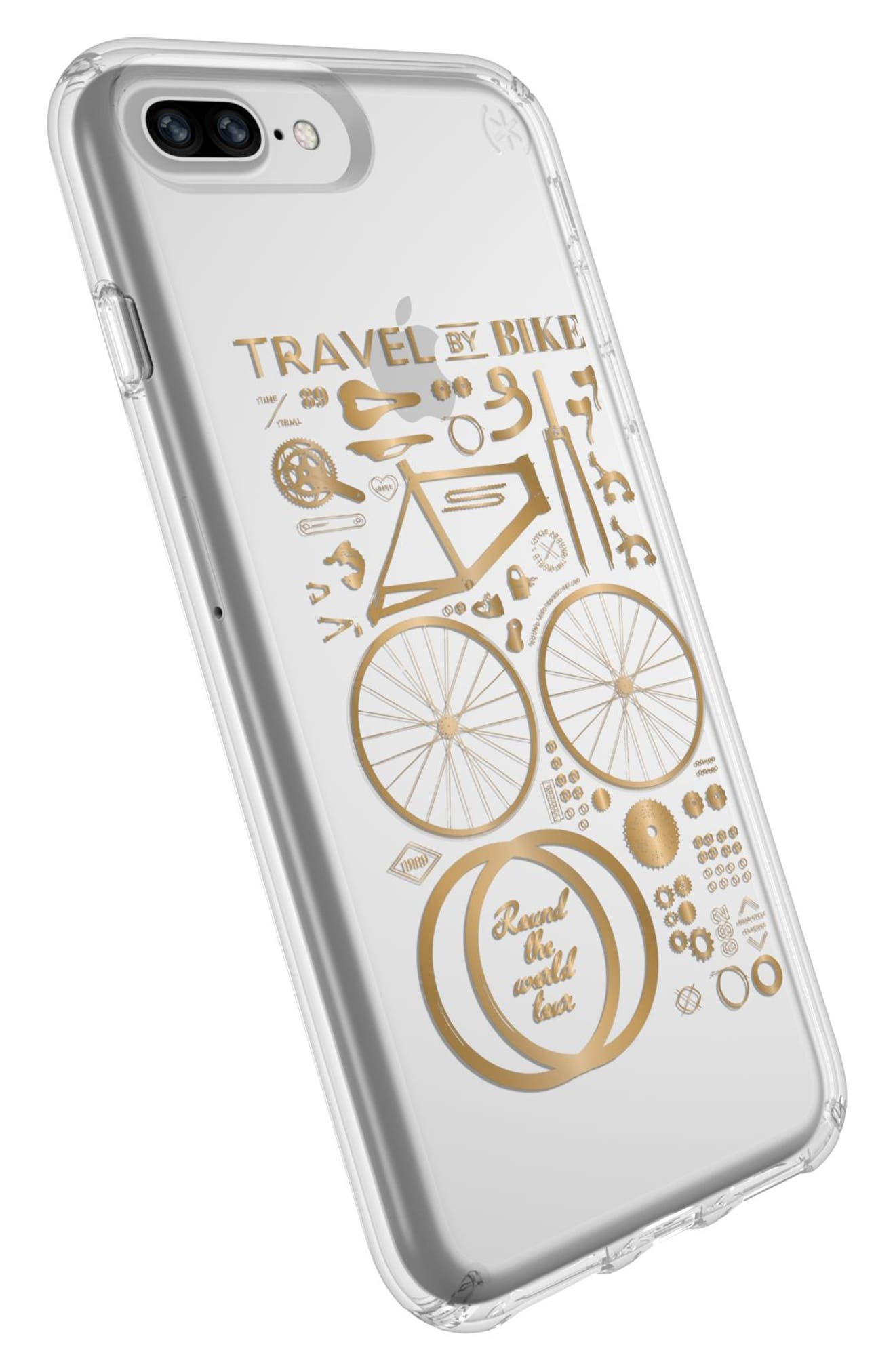 iPhone 6 Plus/6S Plus/7 Plus/8 Plus Case,                             Alternate thumbnail 4, color,                             Citybike Metallic Gold/ Clear