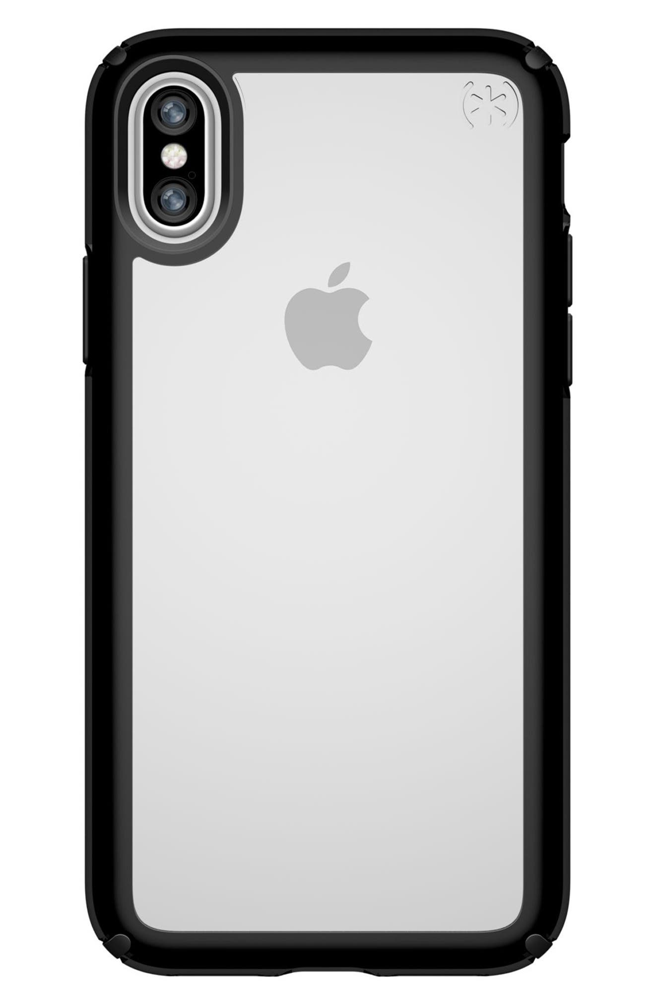 Transparent iPhone X Case,                         Main,                         color, Clear/ Black