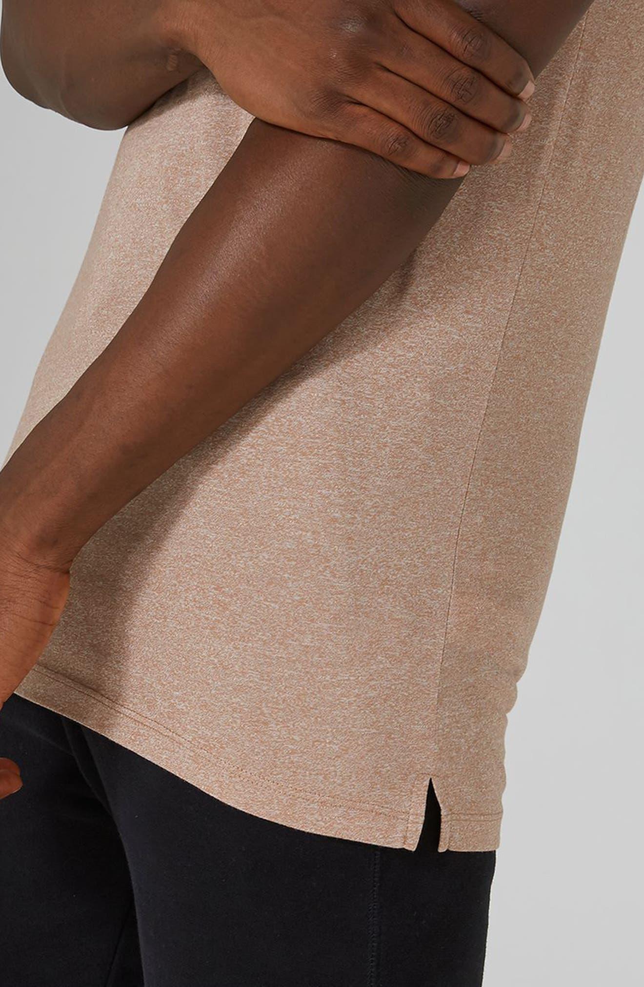 Muscle Fit Longline T-Shirt,                             Alternate thumbnail 3, color,                             Light Brown