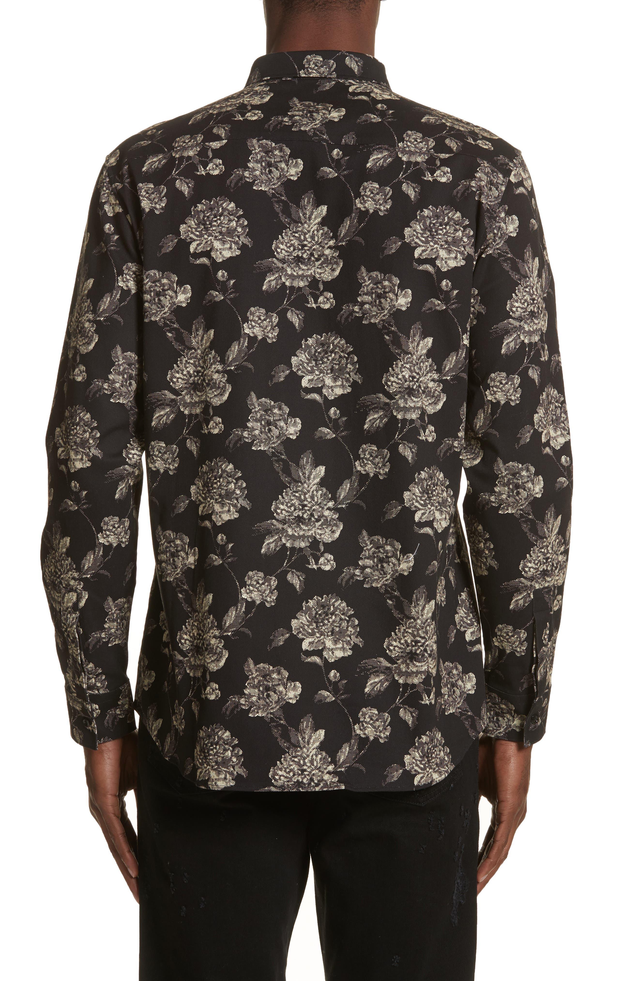 Floral Print Shirt,                             Alternate thumbnail 3, color,                             Black