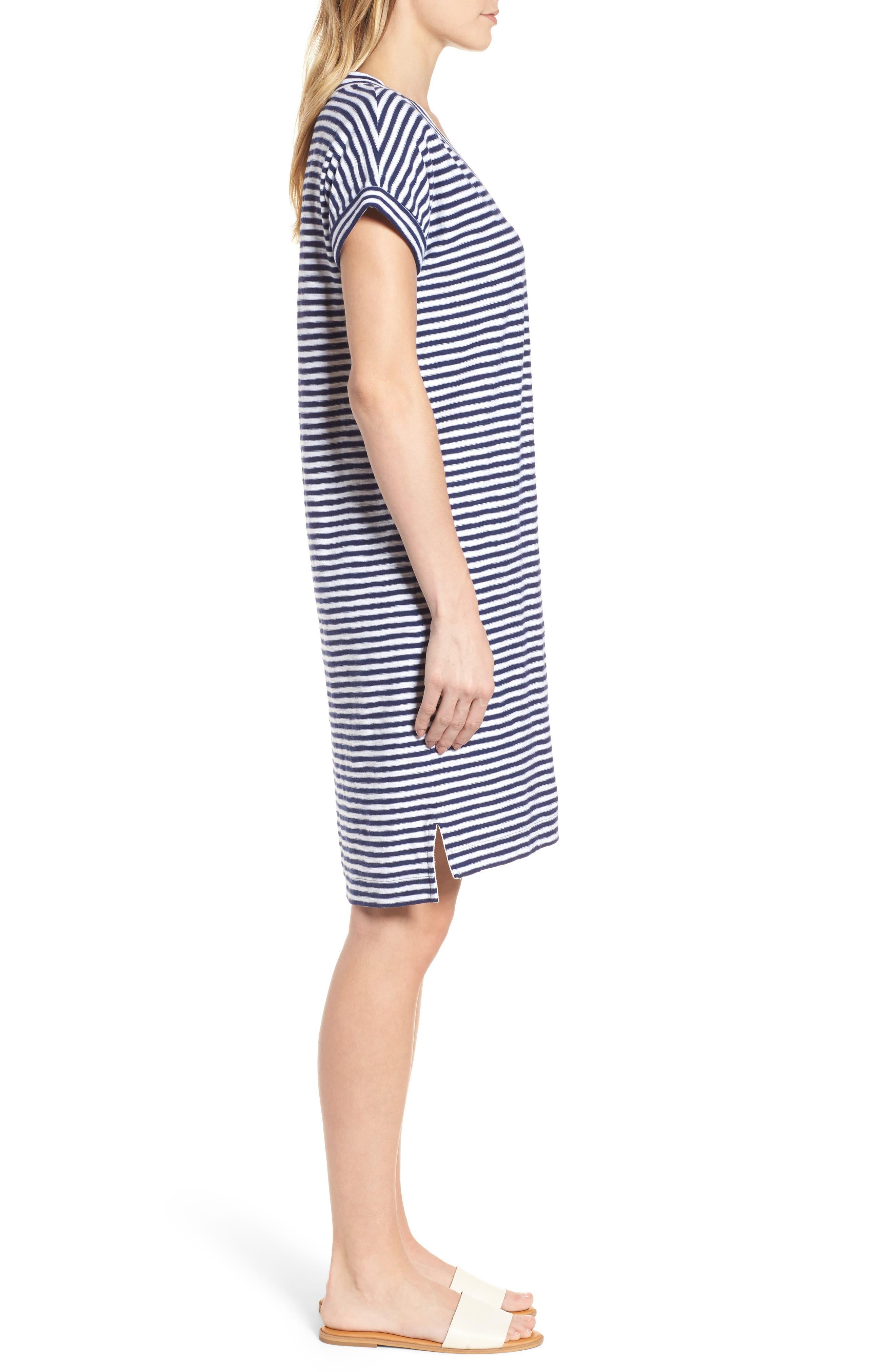 Stripe V-Neck Shirtdress,                             Alternate thumbnail 3, color,                             Deep Bay