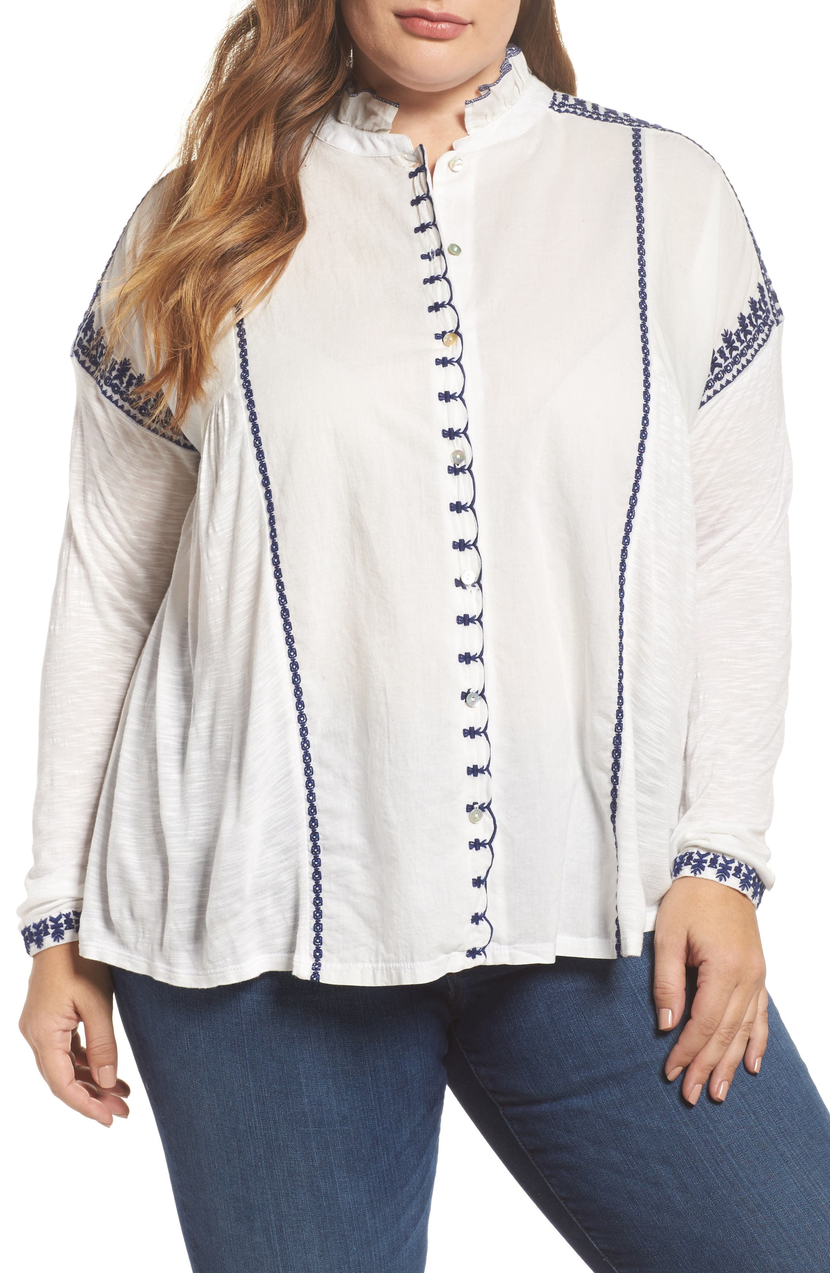 Alternate Image 1 Selected - Lucky Brand Embroidered Mixed Media Top (Plus Size)