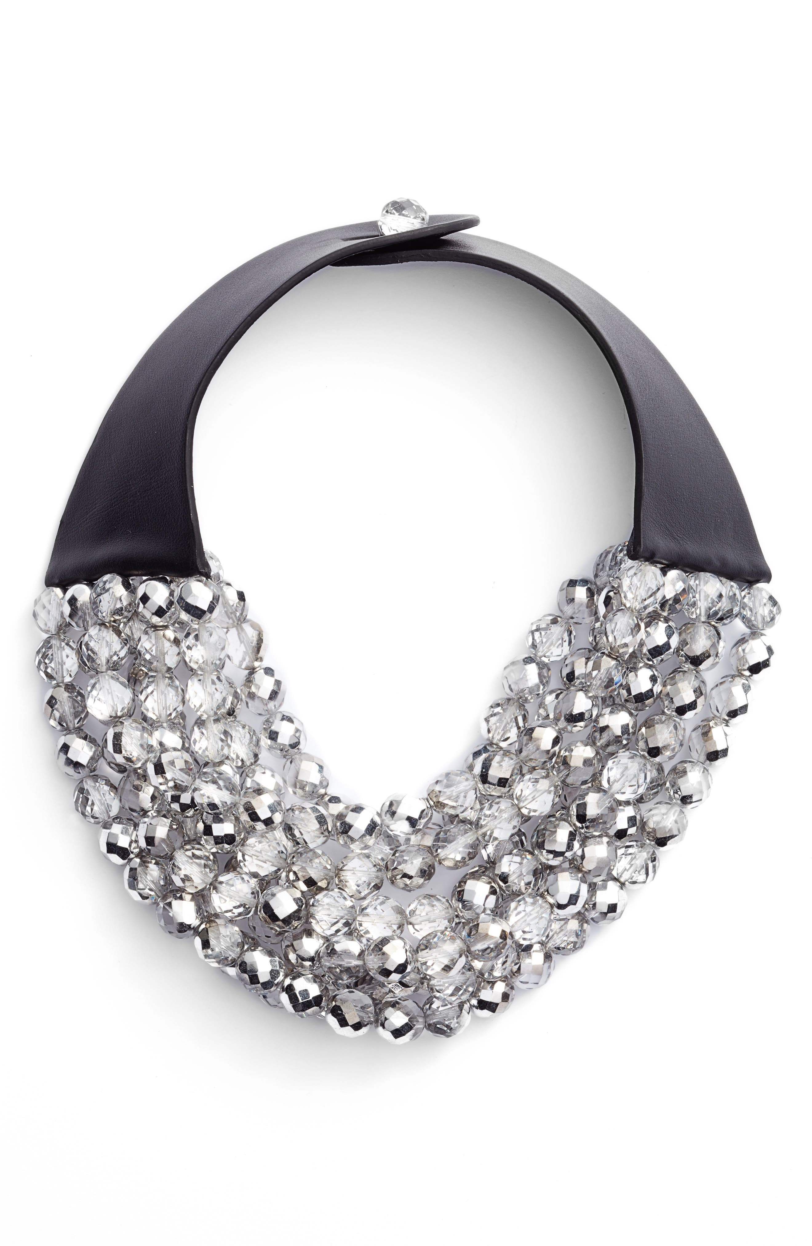 Bella Beaded Collar Necklace,                         Main,                         color, Holiday Crystal Silver