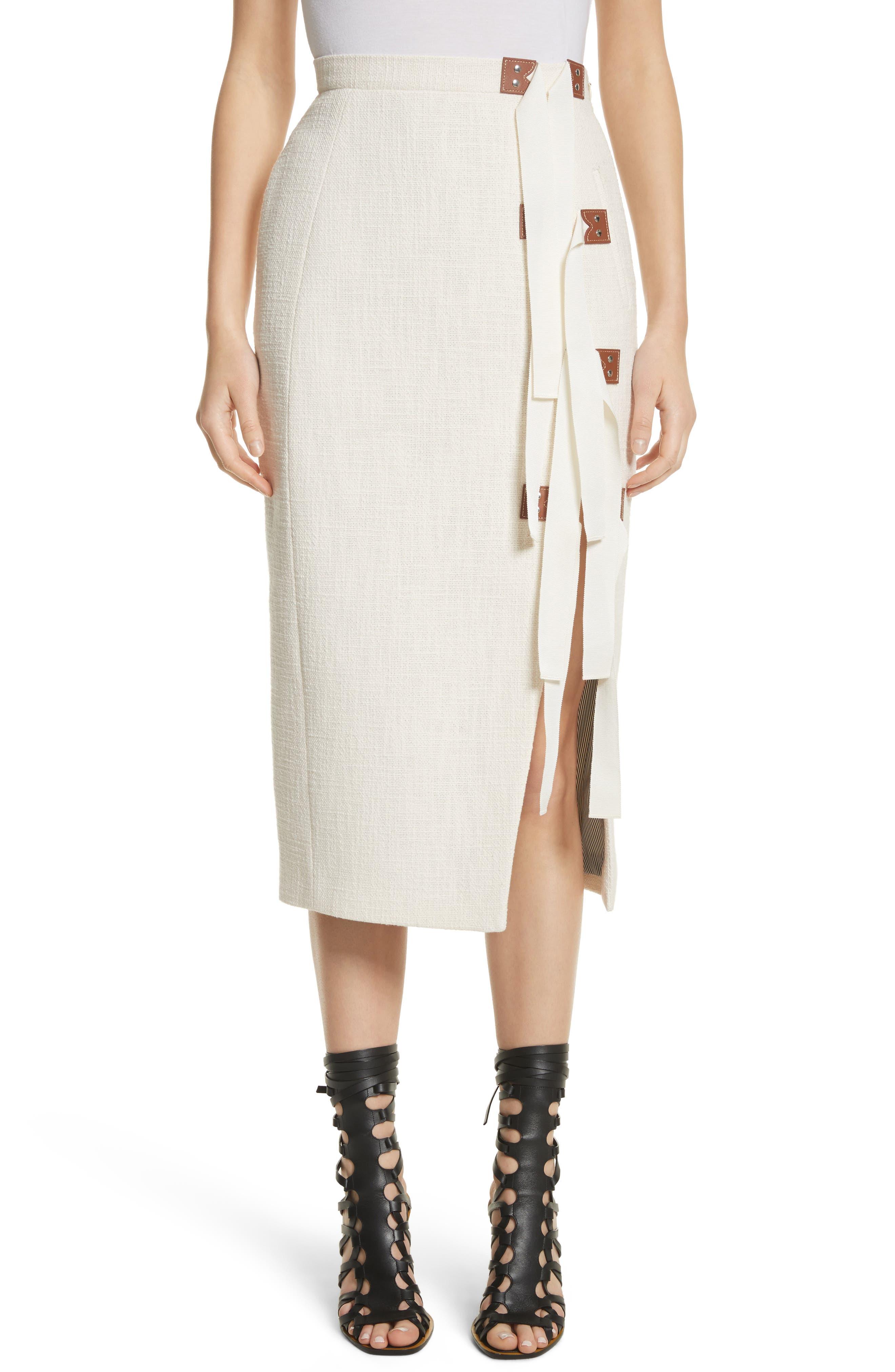 Altuzarra Ribbon Detail Tweed Pencil Skirt