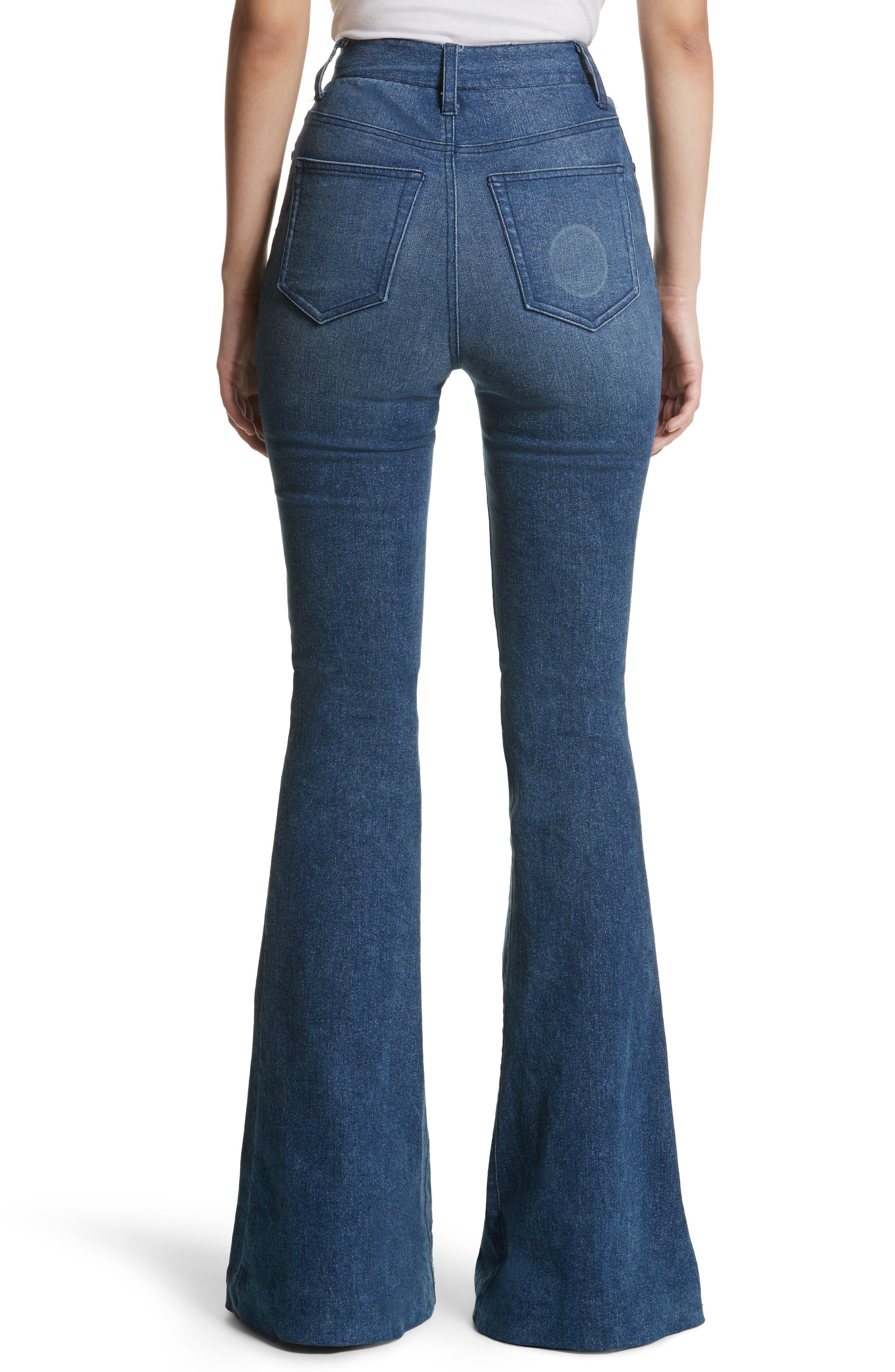 High Waist Bell Bottom Jeans,                             Alternate thumbnail 3, color,                             Denim