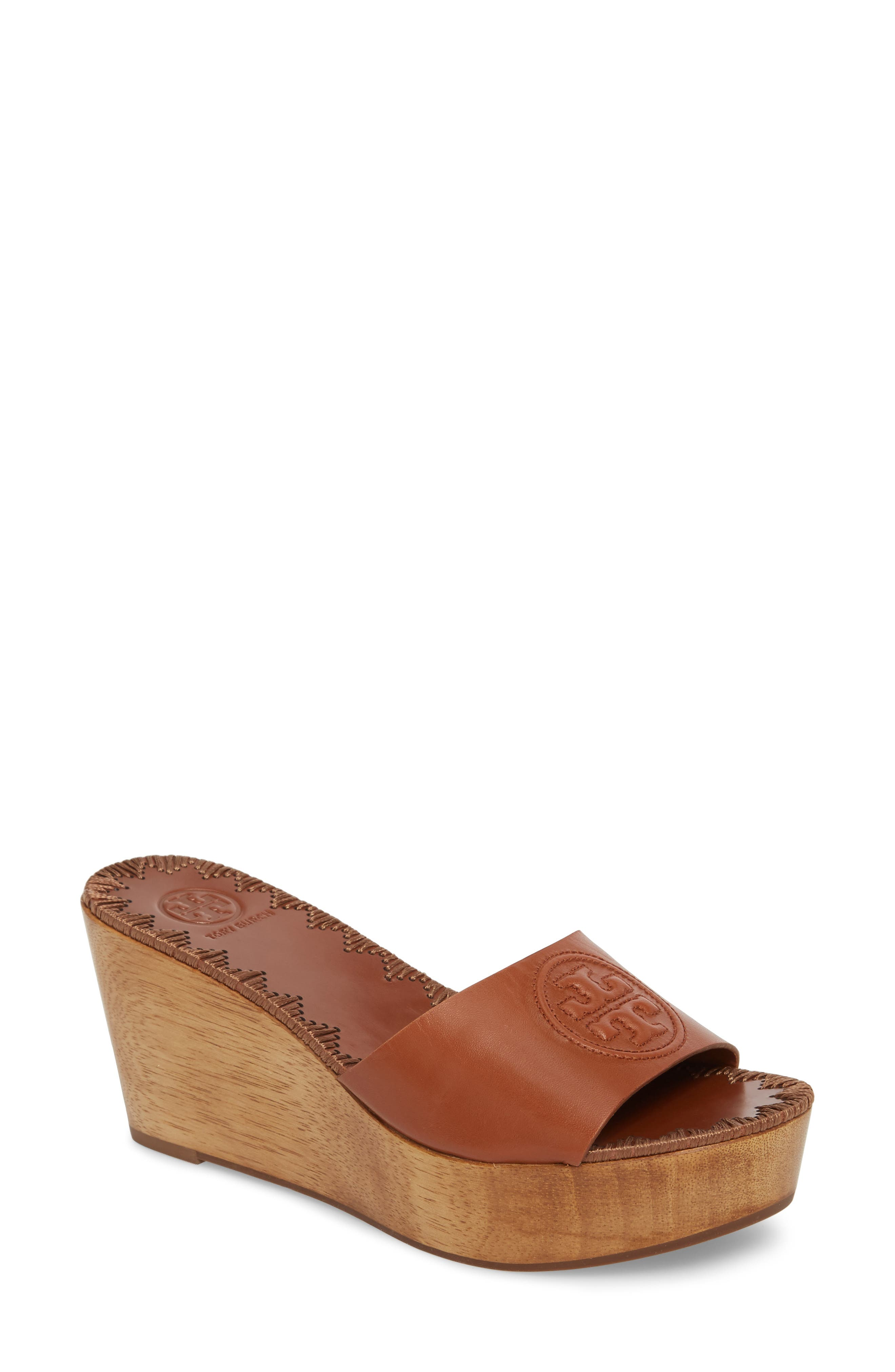 Patty Logo Platform Wedge Sandal,                         Main,                         color, Perfect Cuoio